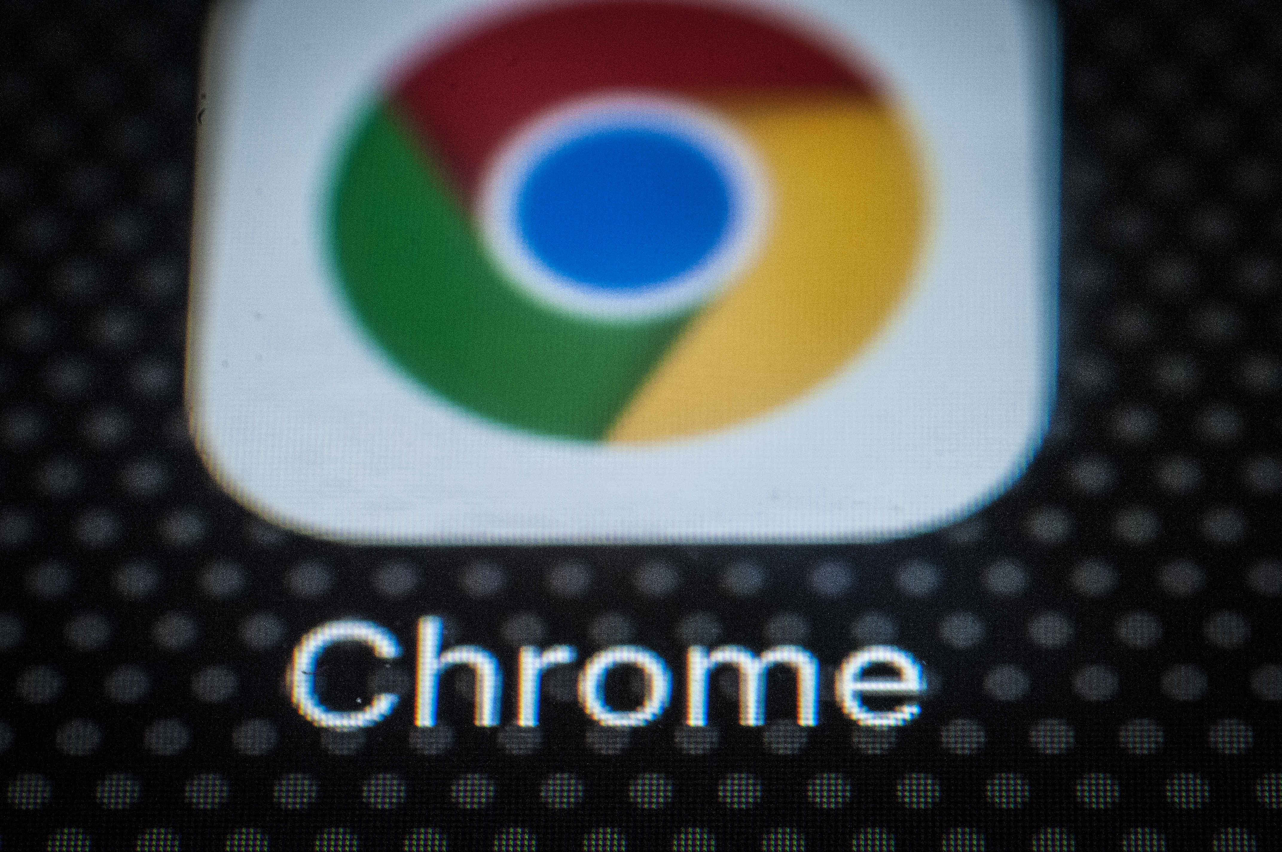 The Chrome browser app for mobile devices is seen on the screen of a portable device.
