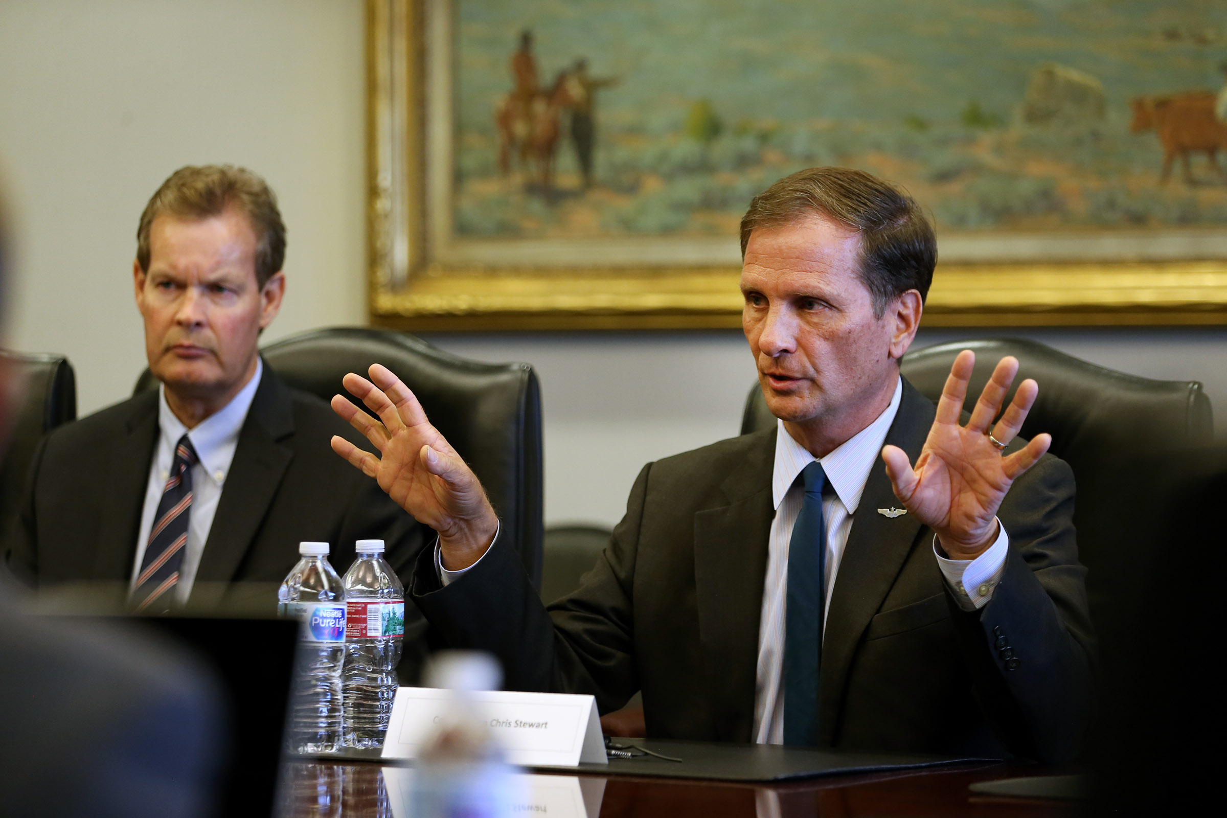 Congressman Chris Stewart, right, talks with the Deseret News editorial board with Gary Webster at Triad Center in Salt Lake City on Wednesday, Sept. 20, 2017.
