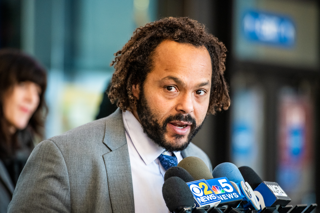 David B Owens attorney for George Anderson speaks to members of the media after a judge denied a motion to give Anderson a new trial, Thursday, Jan. 16, 2020, in Chicago.