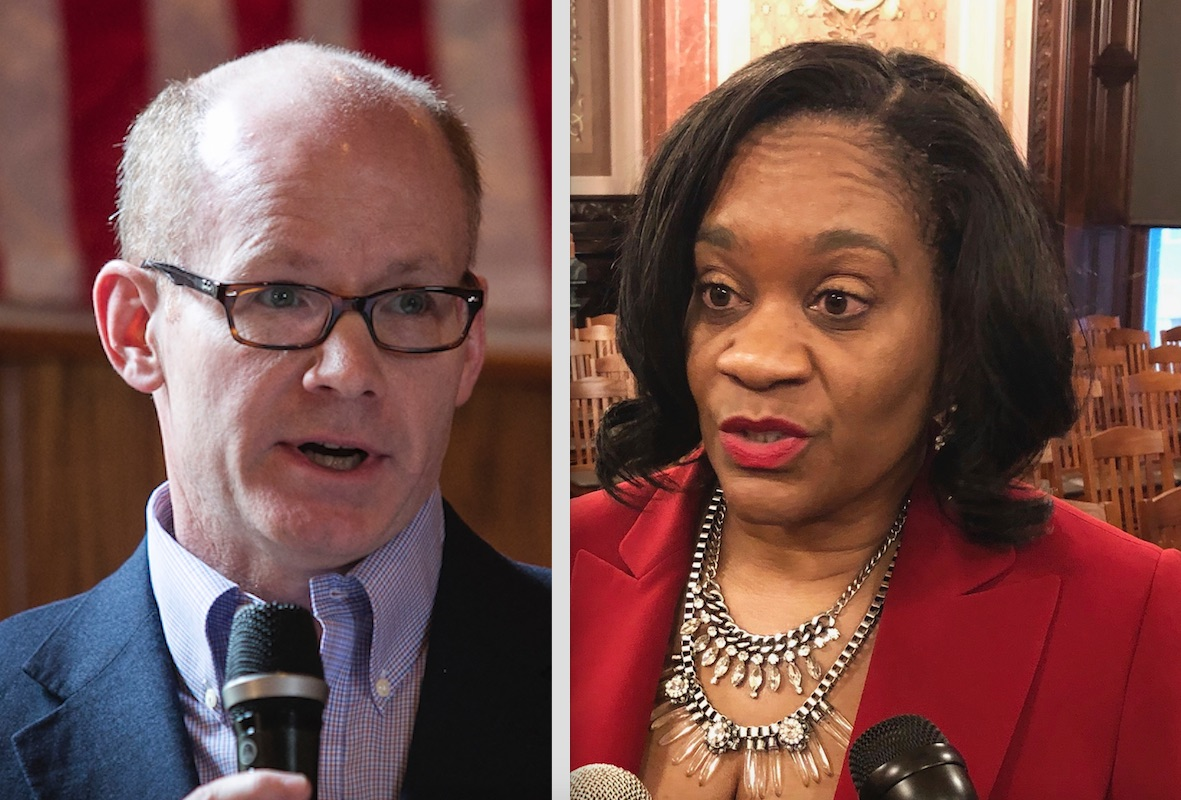 State Sen. Don Harmon, left; State Senate Majority Leader Kimberly Lightford, right,