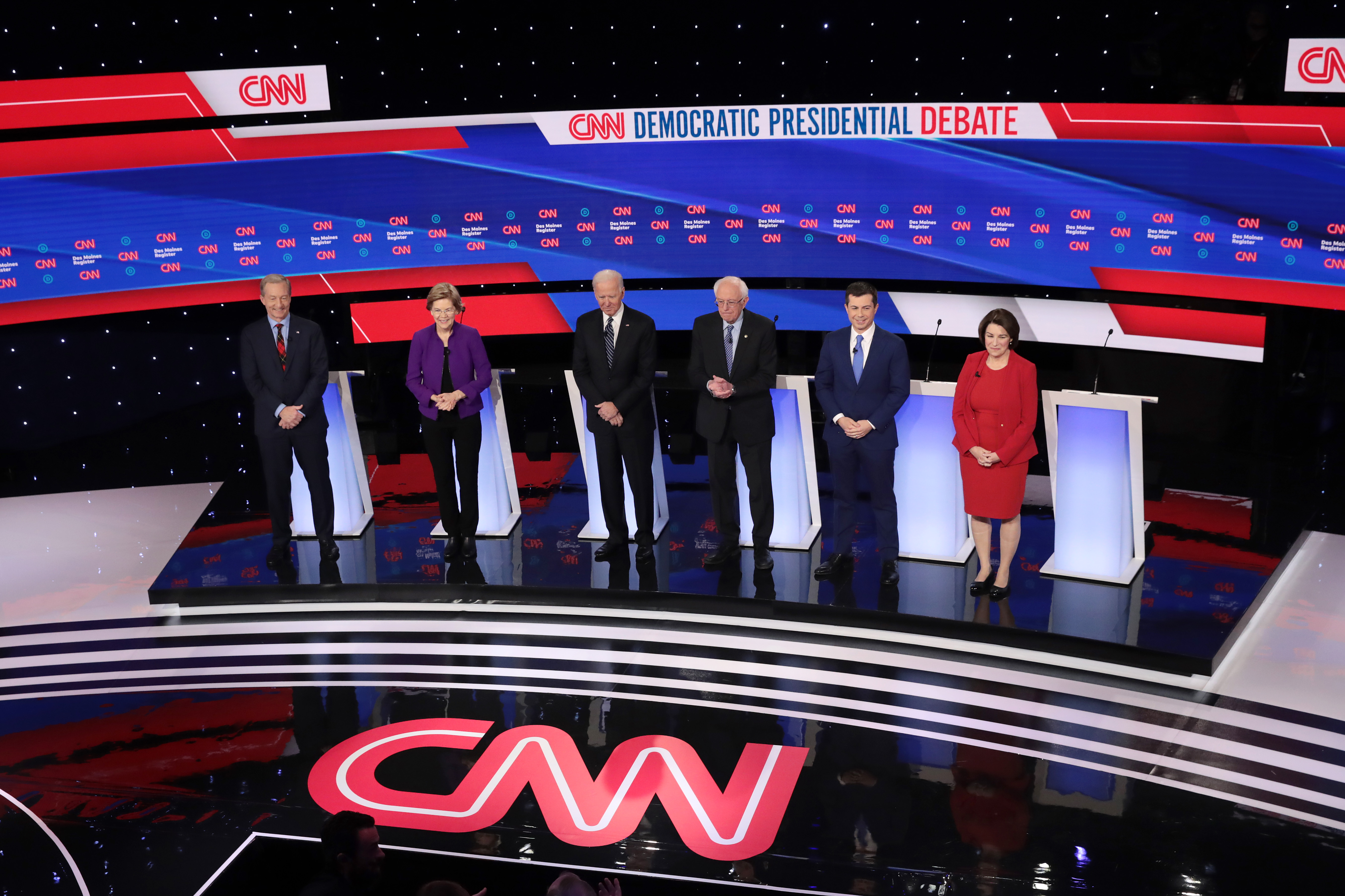 Six candidates in the Democratic presidential primary debated on Tuesday in Des Moines, Iowa.