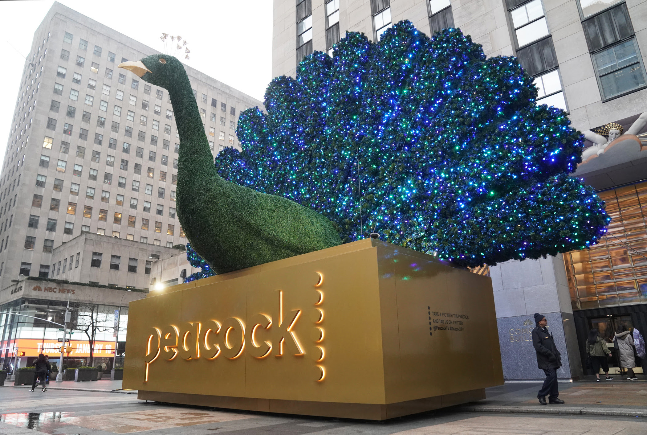 NBC peacock logo in New York.