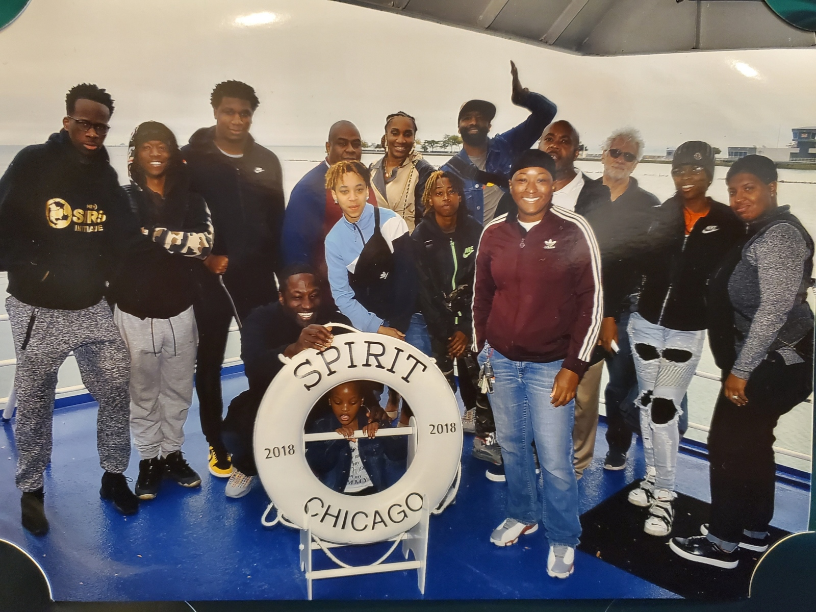 Emoni Atomah, 23, (second from left) last summer with other members of the Strong Futures program as well as coaches and program staff.