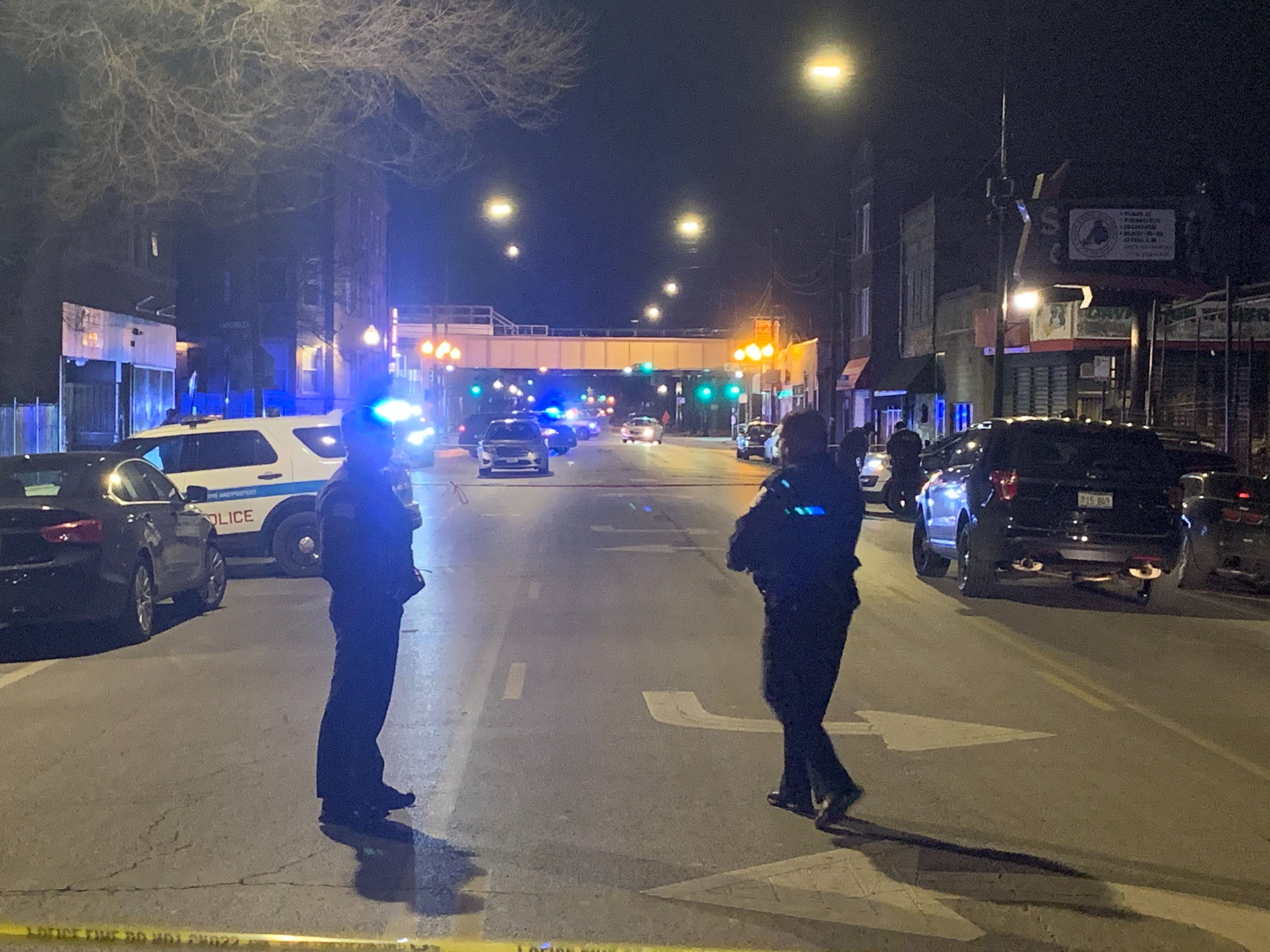 Chicago police at the scene where five people were shot Jan. 16, 2020, at a barbershop in East Garfield Park.