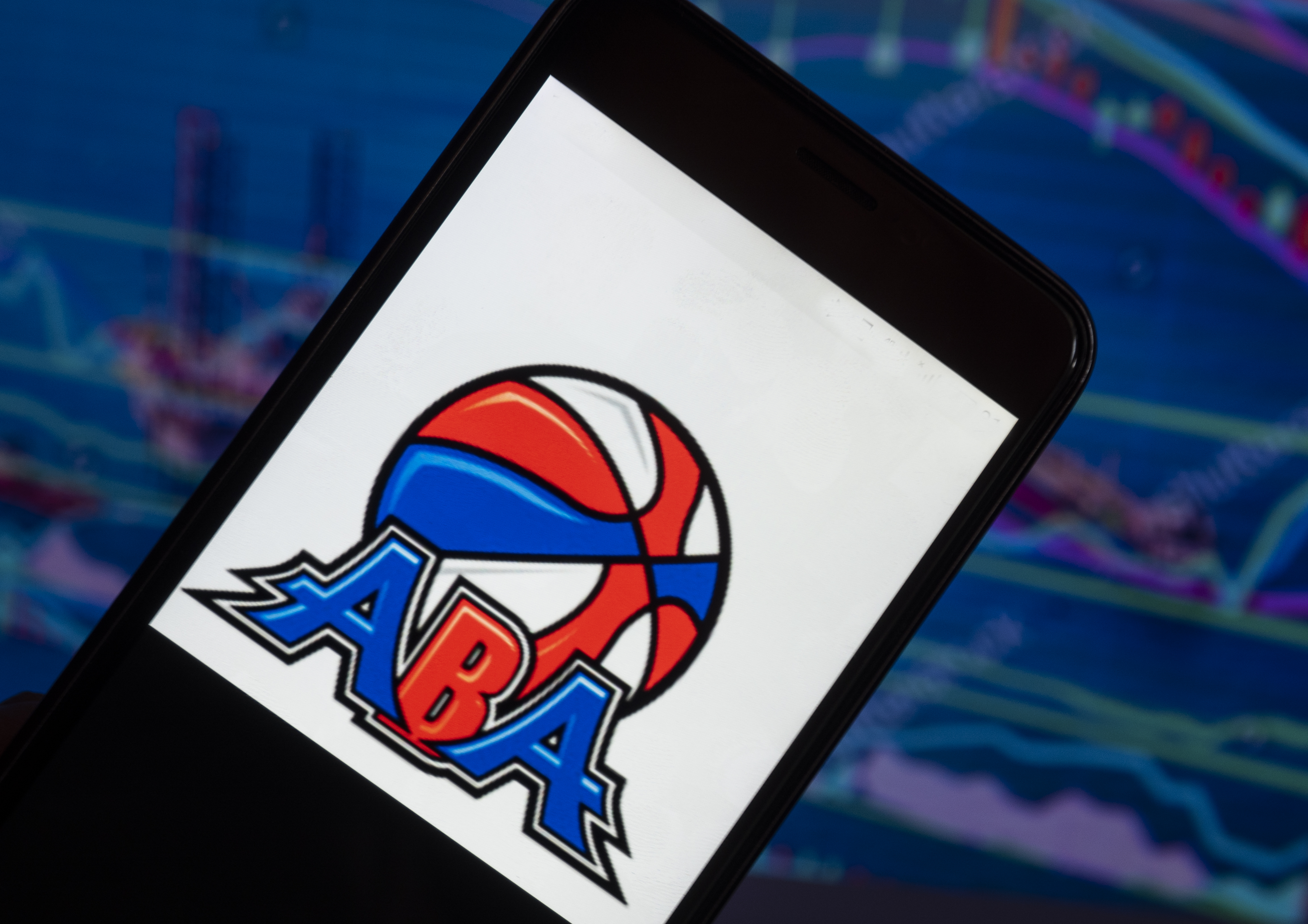 The American Basketball Association logo seen displayed on a