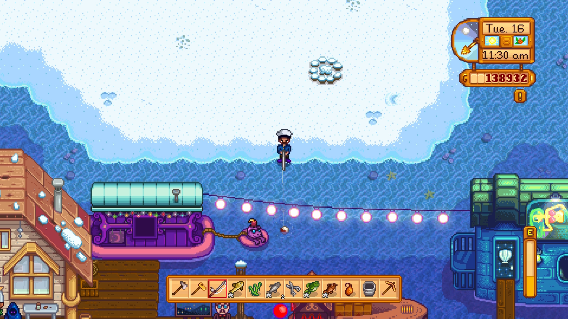 I'm playing Stardew Valley as Ernest Hemingway and I finally learned how to fish