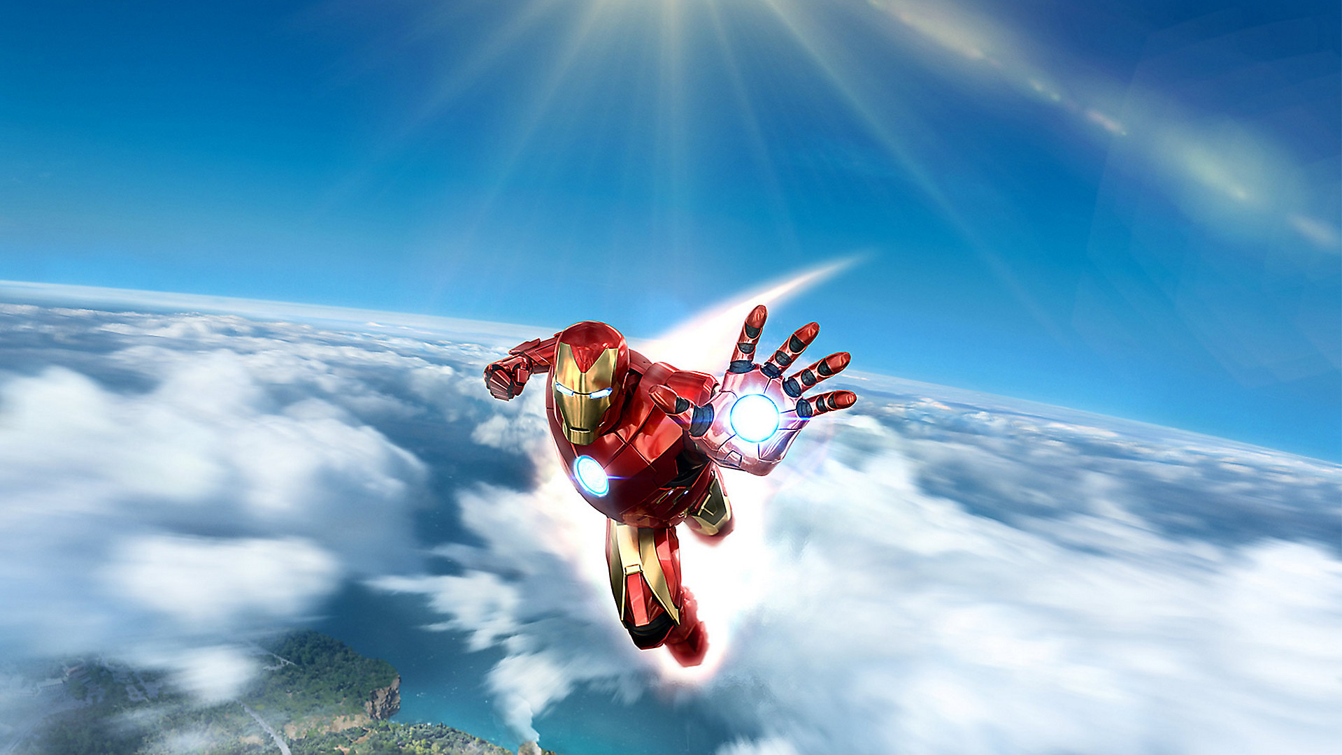 Key art of Iron Man flying above the clouds from Marvel's Iron Man VR