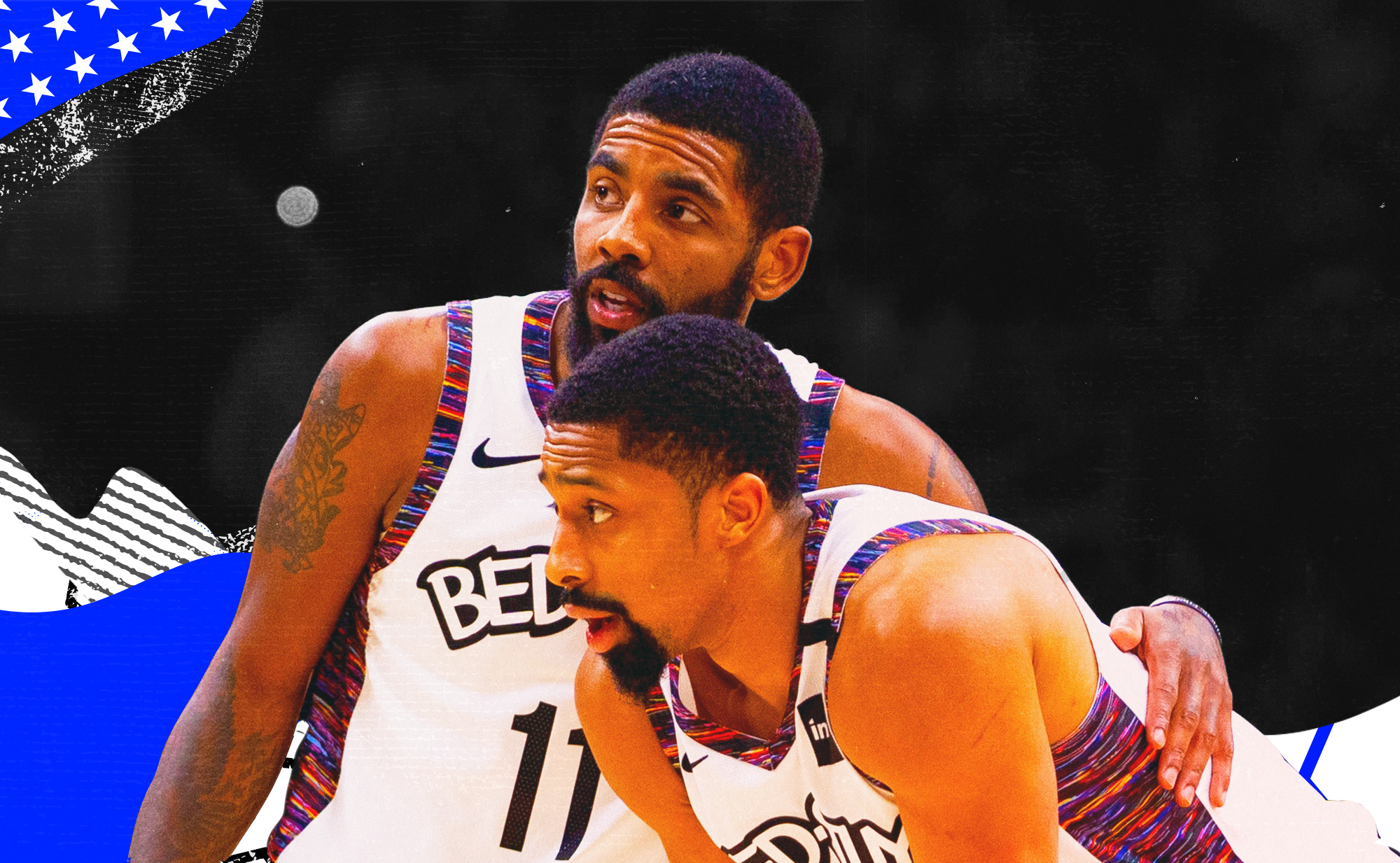 Kyrie Irving and Spencer Dinwiddie embrace for the Nets.