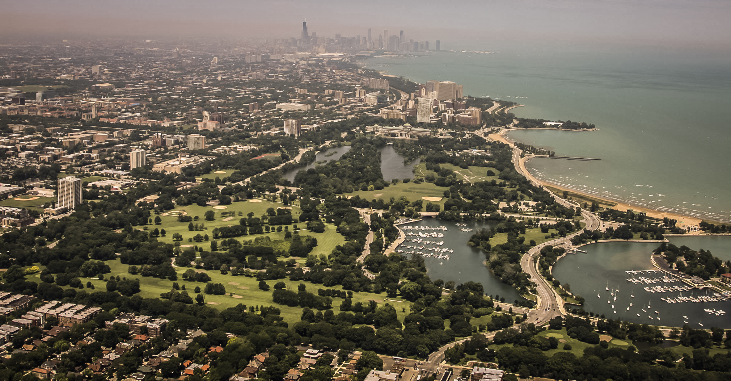 Aerial view of Jackson Park, chosen site of the Obama Presidential Center.