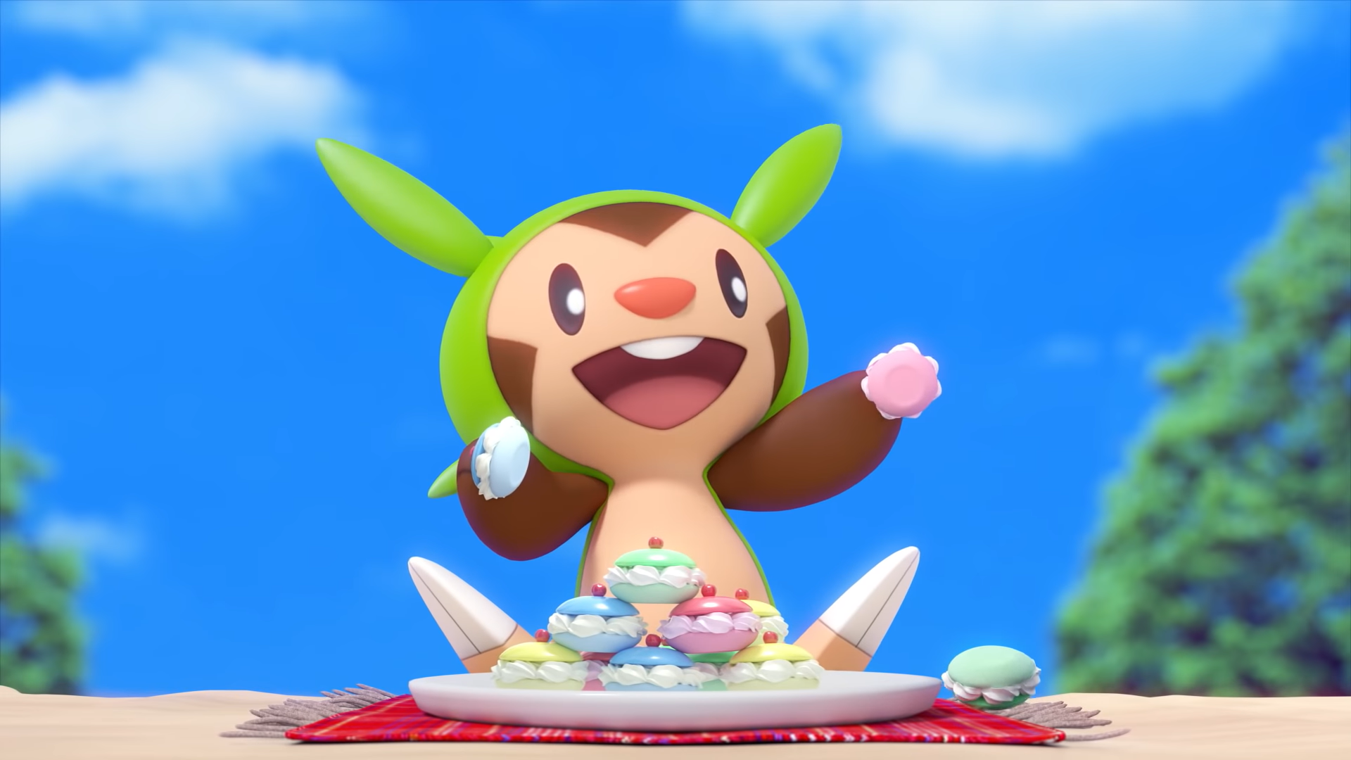 Pokémon Chespin eating little, colorful cookies