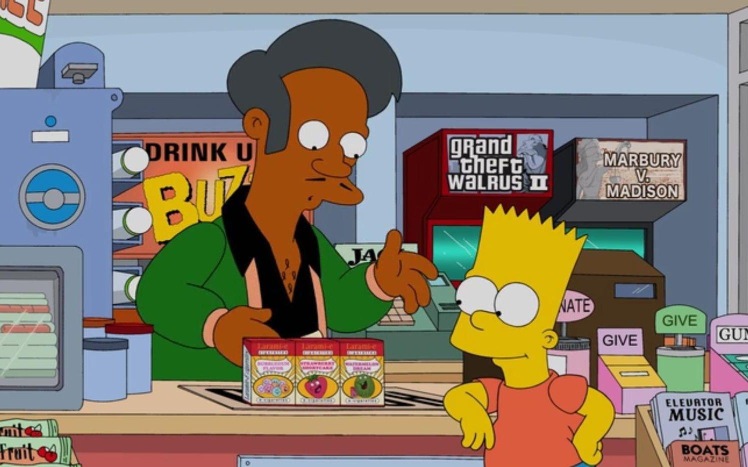 apu and bart discuss ice cream and the kwik-e-mart