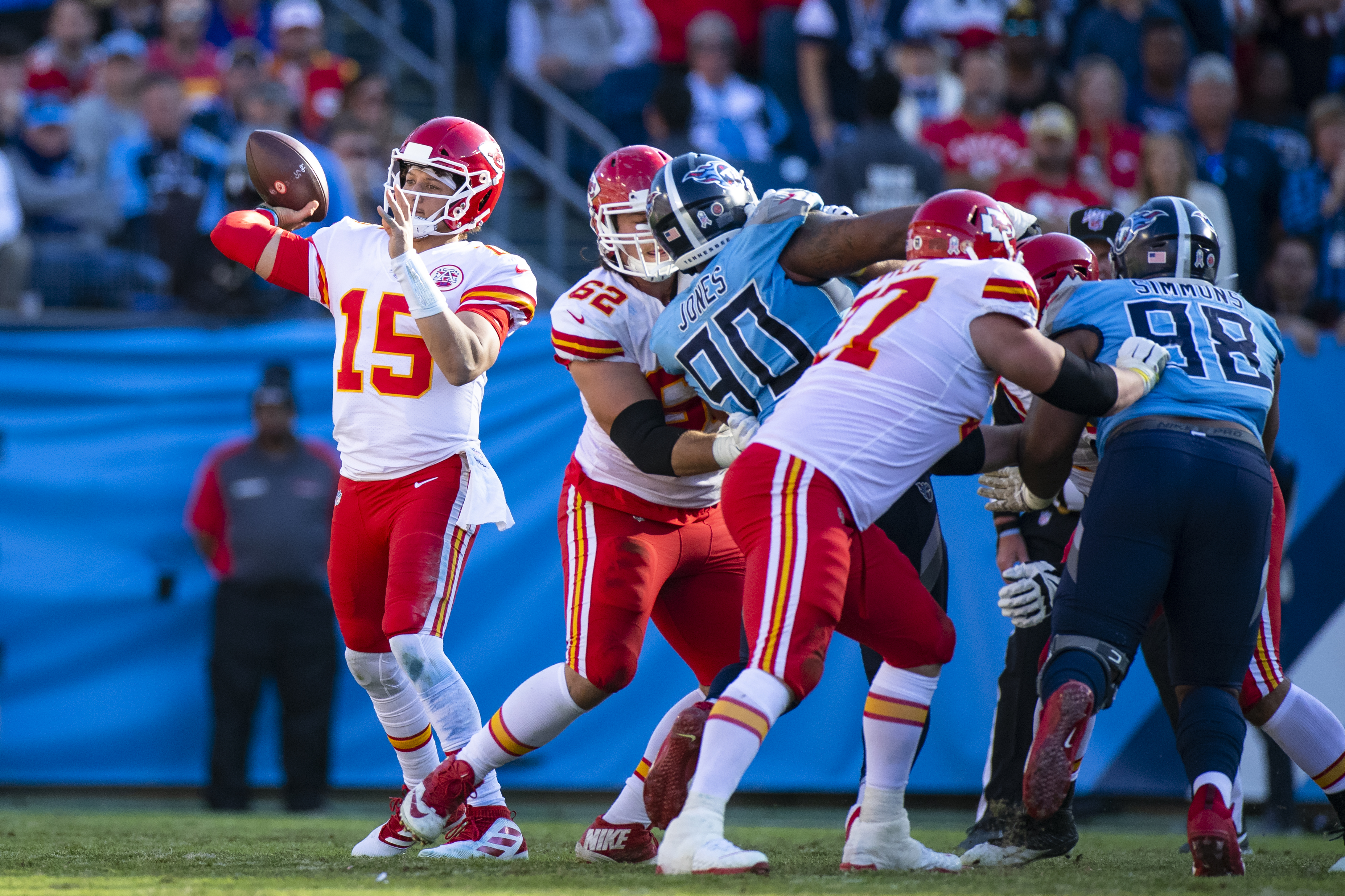 Patrick Mahomes of the Kansas City Chiefs passes the ball during the fourth quarter against the Tennessee Titans at Nissan Stadium on November 10, 2019 in Nashville, Tennessee.