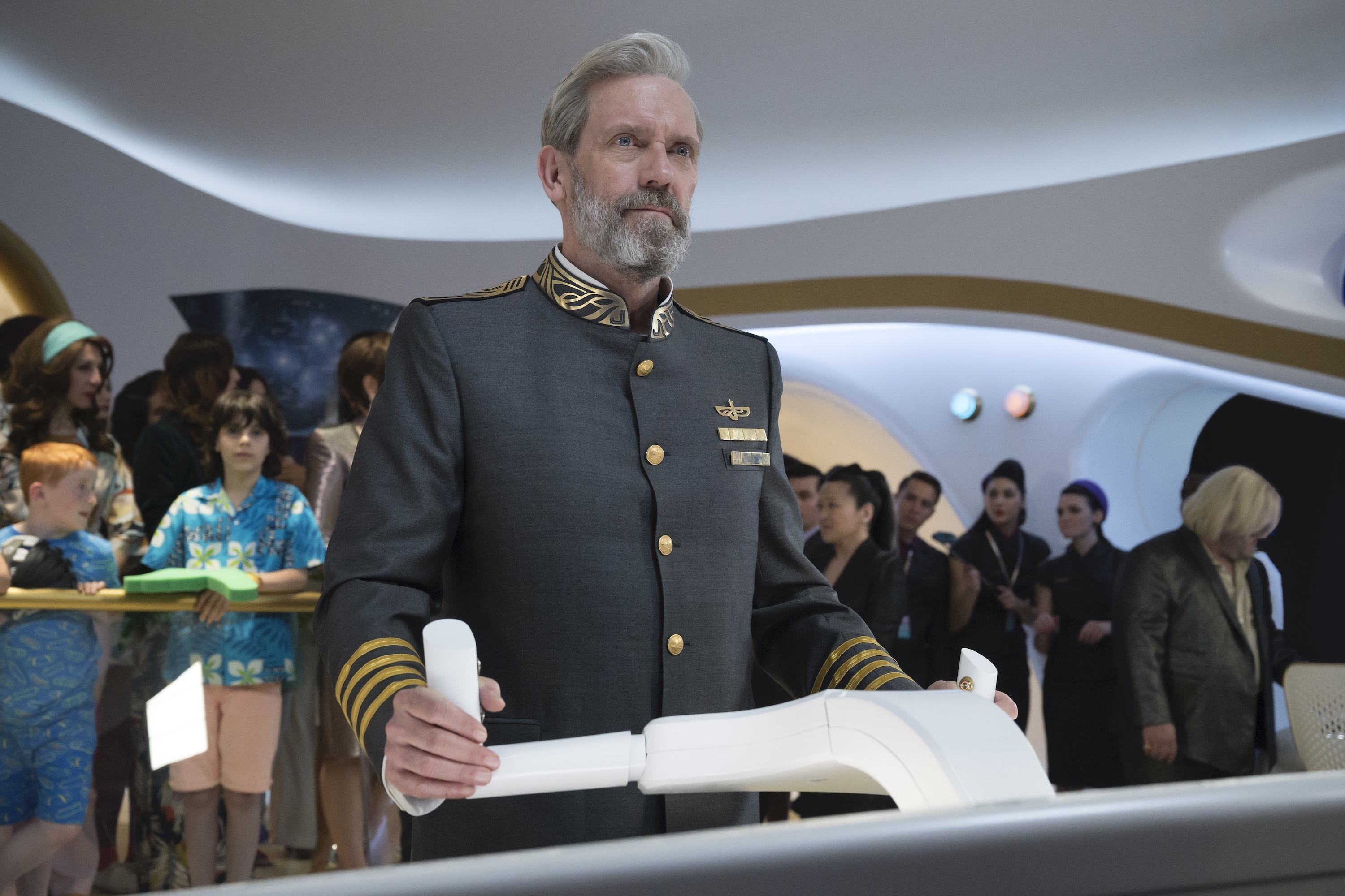 "Hugh Laurie plays the captain of a cruise ship in space on ""Avenue 5."""