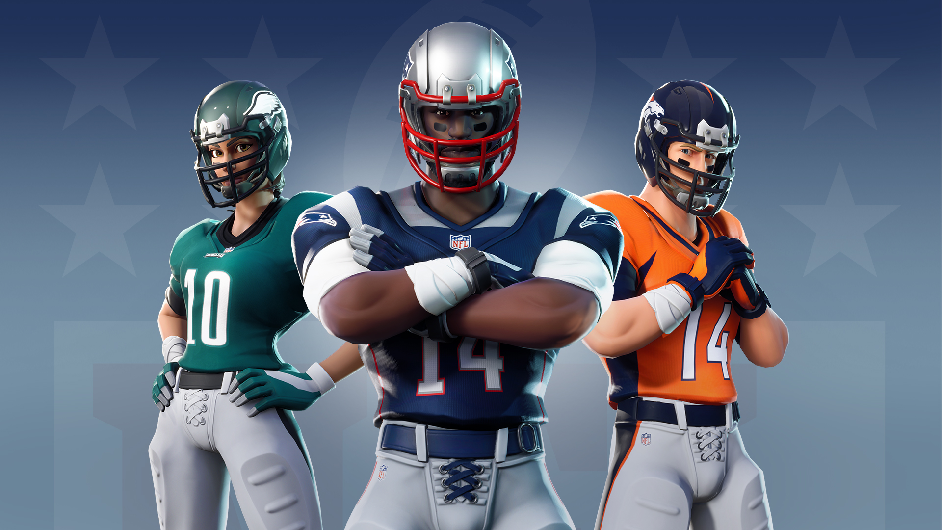 Three players wearing Fortnite's NFL skins pose in a line