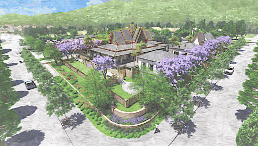 An illustration of a Buddhist temple with peaked roof and golden spire on a residential block, surrounded by flowering trees.