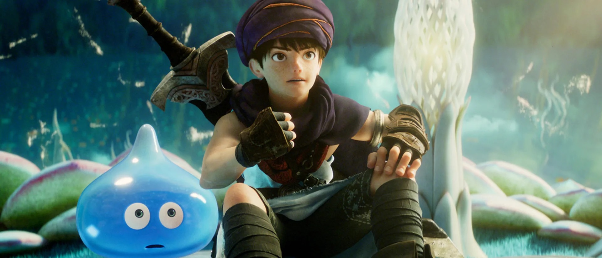 A boy and his slime look surprised in a still from Dragon Quest: Your Story