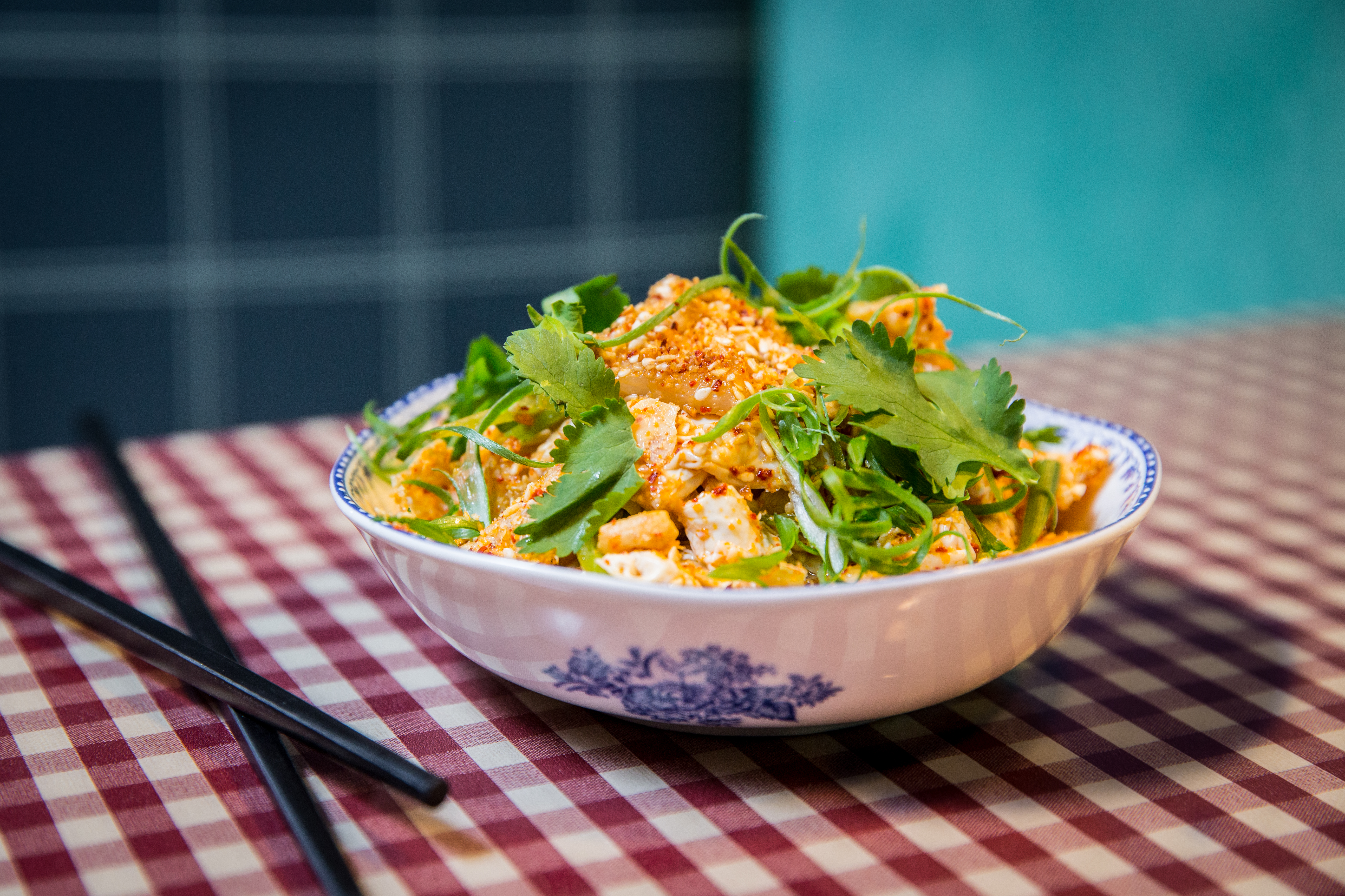 A Chinese tofu salad in a bowl.