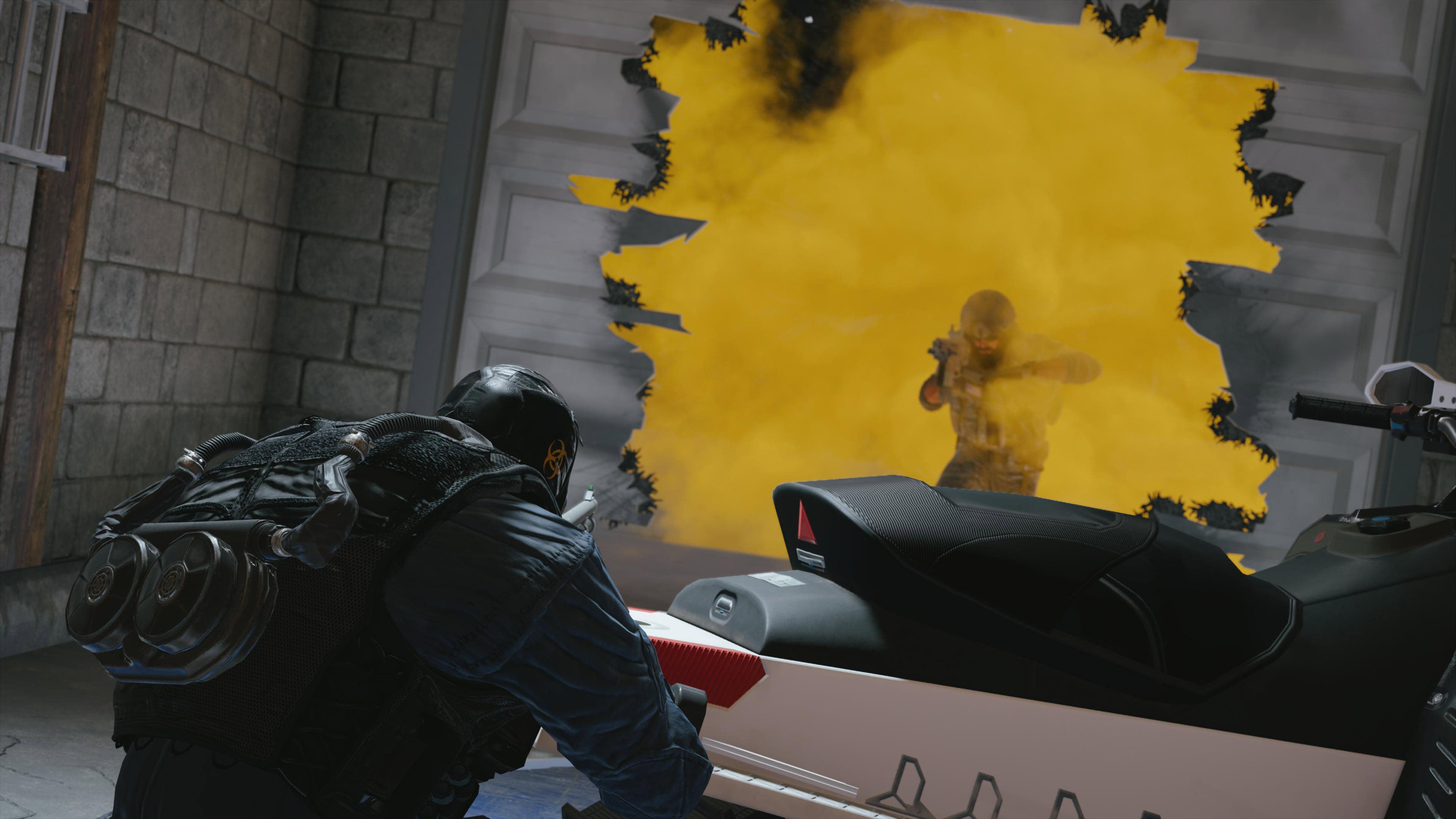 Two R6S players facing each other and a wall of yellow smoke