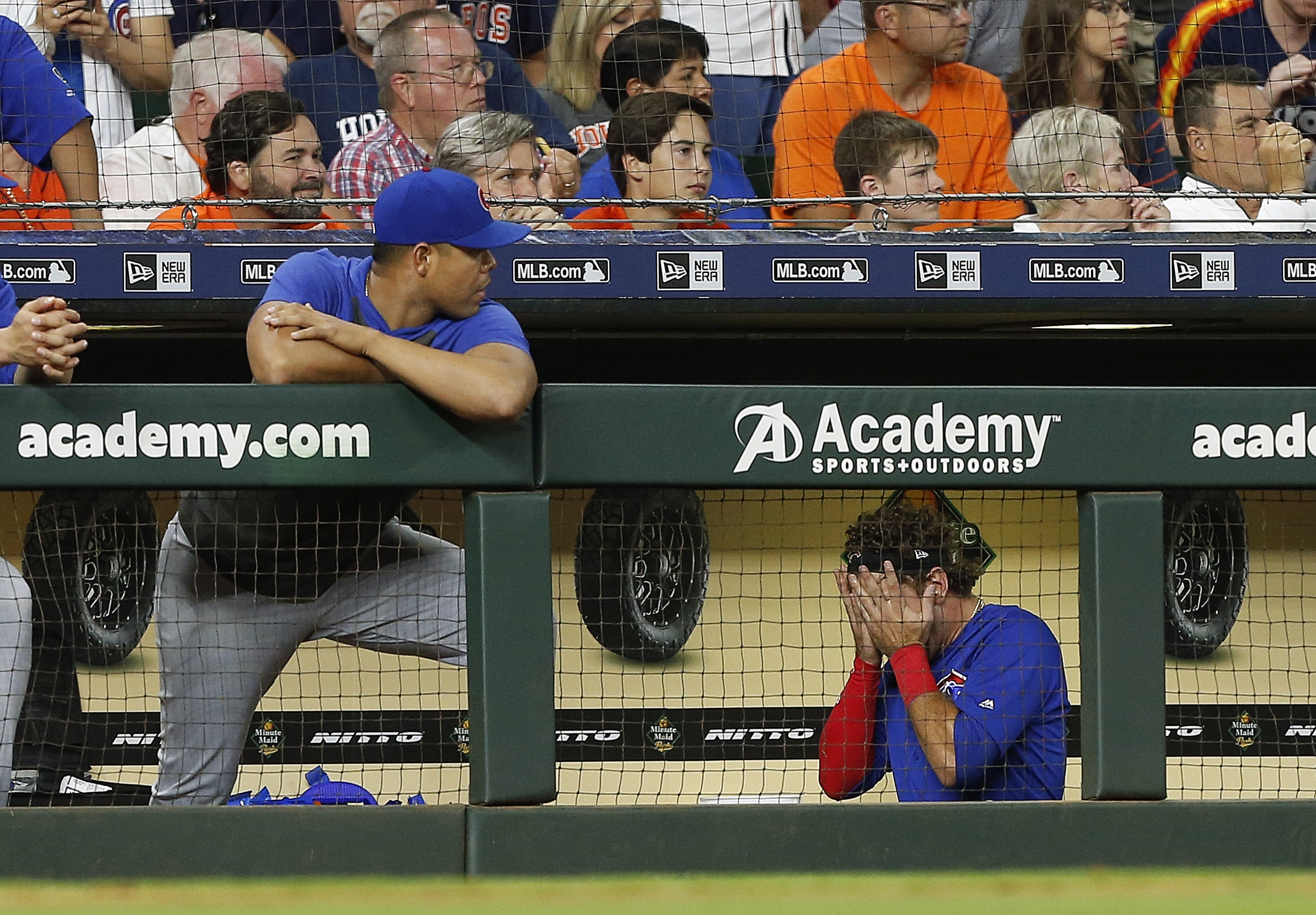 Albert Almora was visibly distraught when he realized his foul ball hit and injured a young fan.