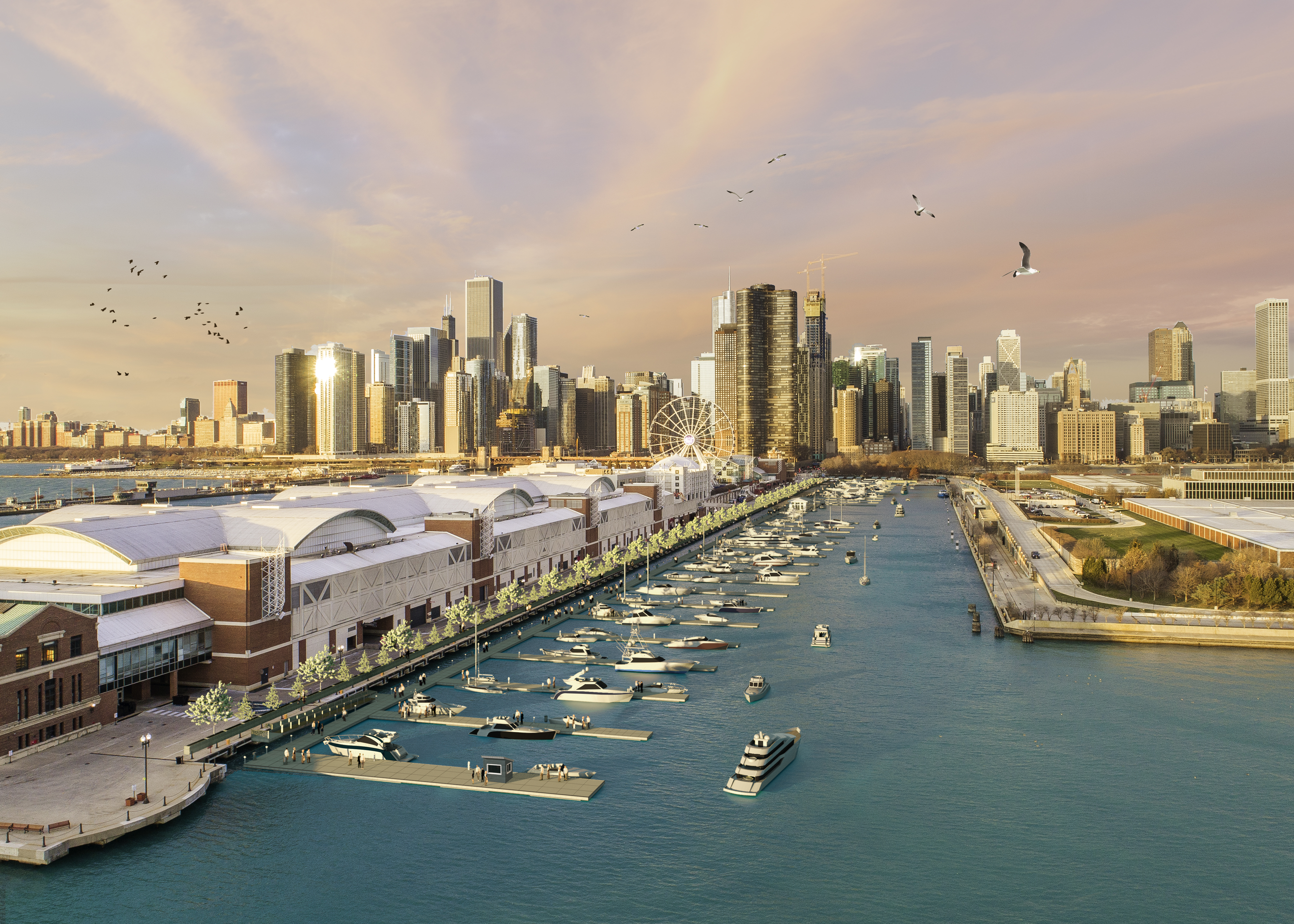 A rendering of a new marina scheduled to open on the north side of Navy Pier.