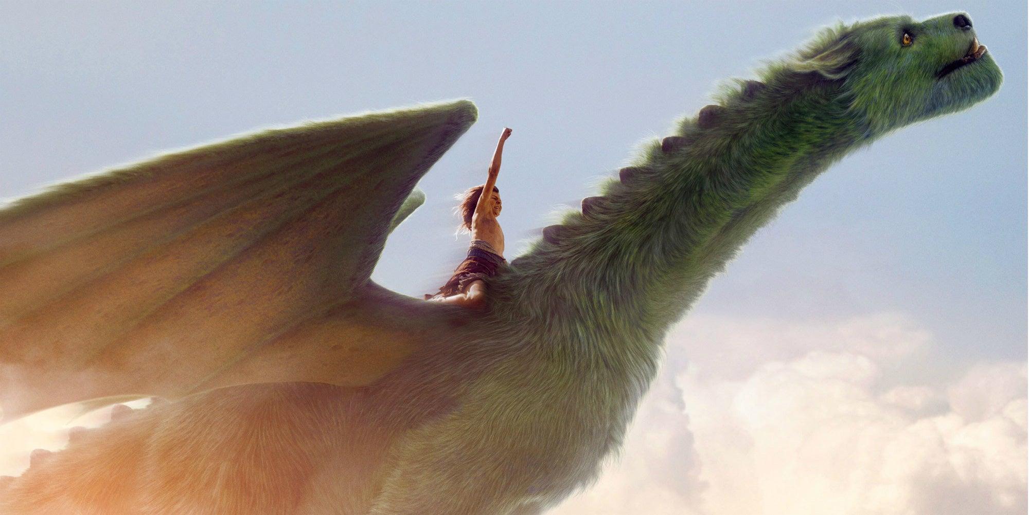 pete rides his dragon in pete's dragon 2016