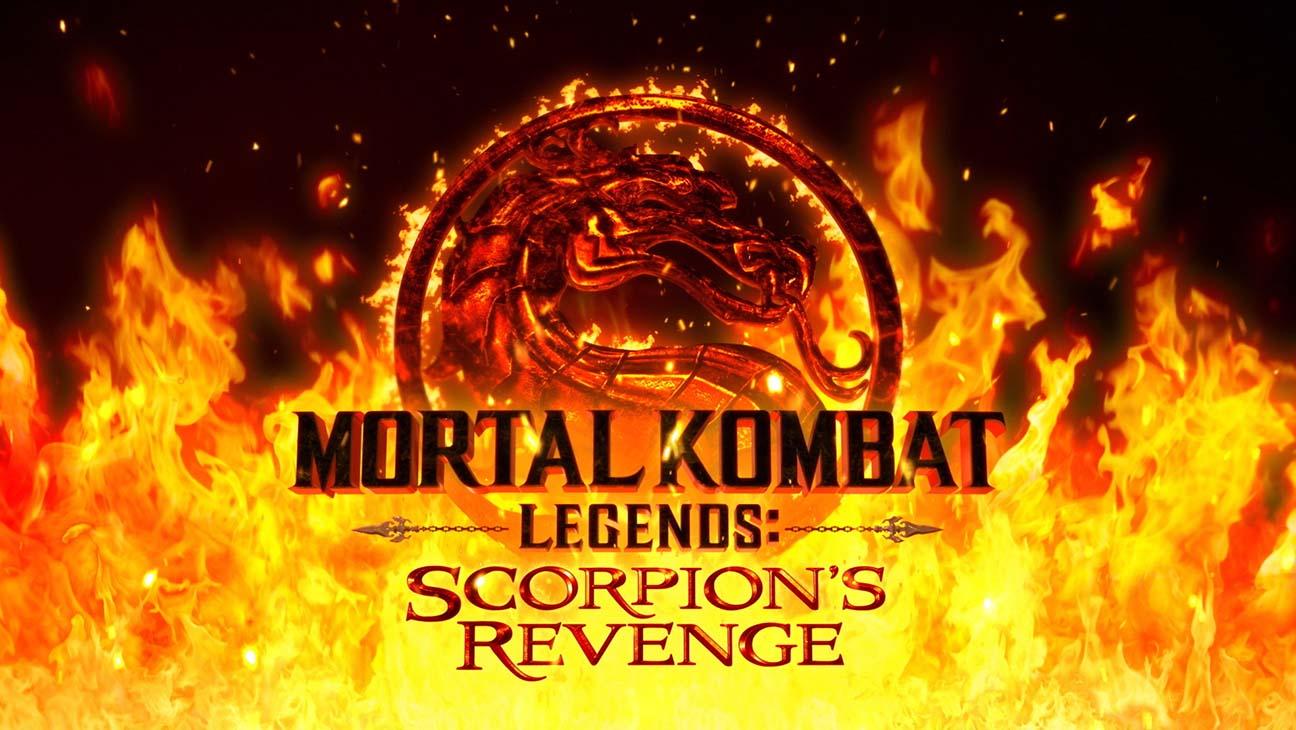 Logo for Mortal Kombat Legends: Scorpion's Revenge against a sea of flames.