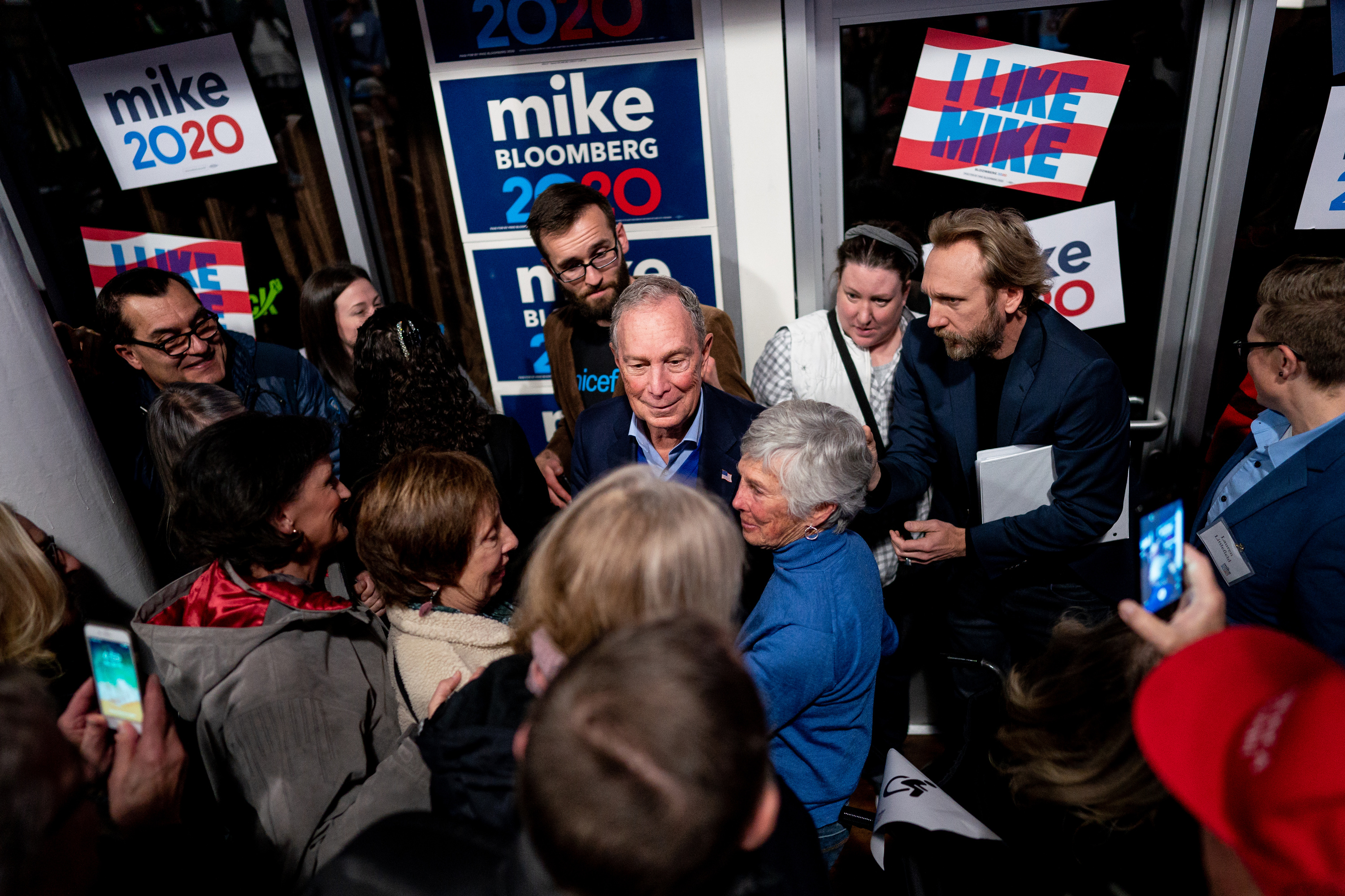Democratic presidential candidate Michael Bloomberg greets supporters after speaking at a campaign event at Impact Hub in Salt Lake City on Saturday, Jan. 18, 2020.