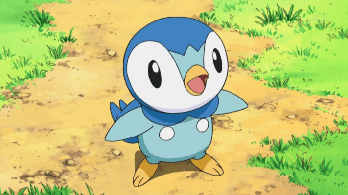 Piplup stares up, with its beak open
