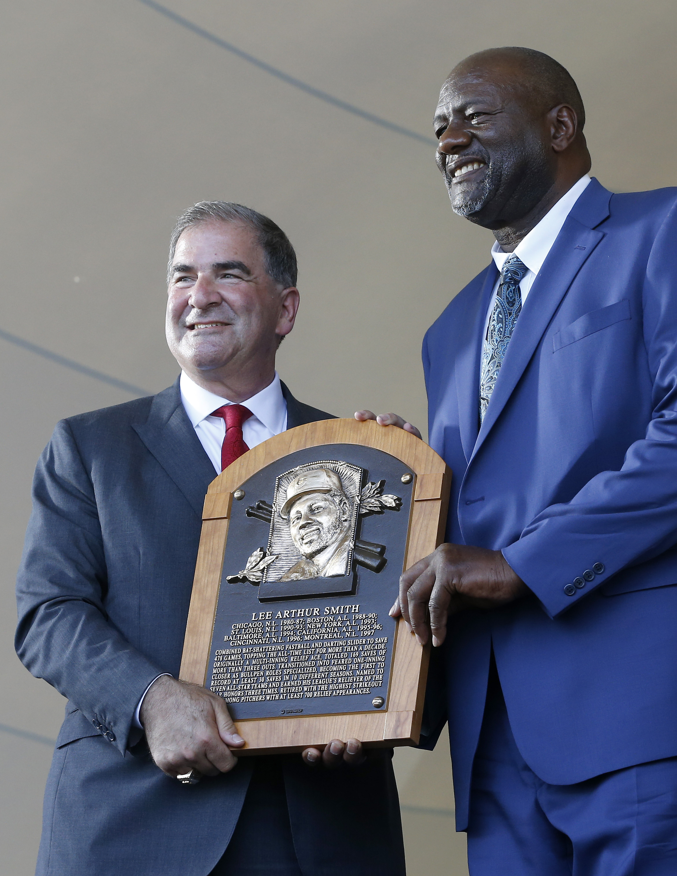 Lee Smith is inducted into the Hall of Fame last summer.