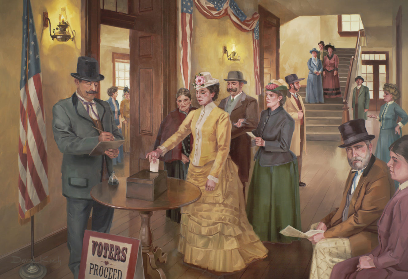 Seraph Young casting the first vote by an American female on Valentine's Day 1870.