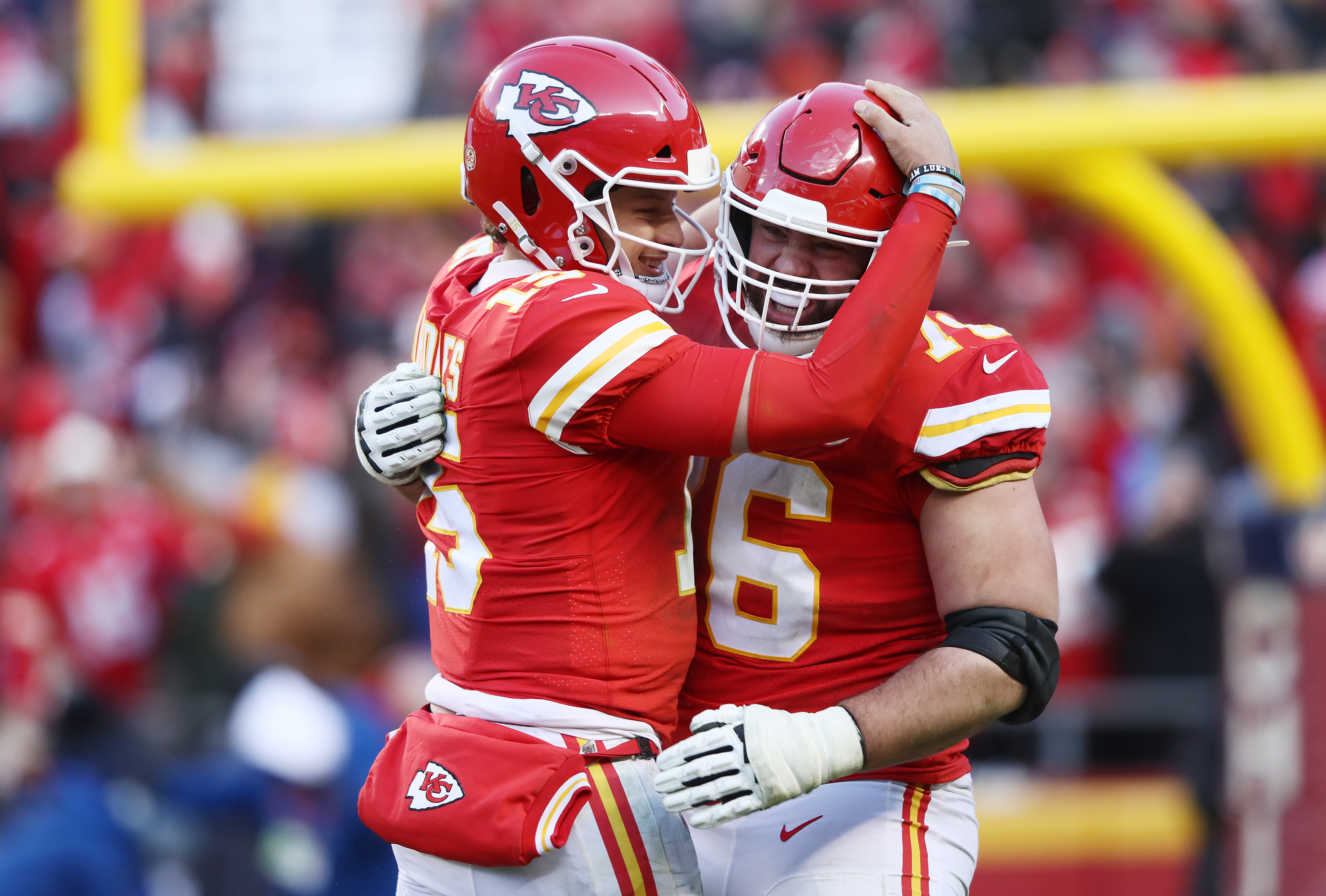 Patrick Mahomes of the Kansas City Chiefs reacts after a touchdown in the fourth quarter against the Tennessee Titans in the AFC Championship Game at Arrowhead Stadium on January 19, 2020 in Kansas City, Missouri.