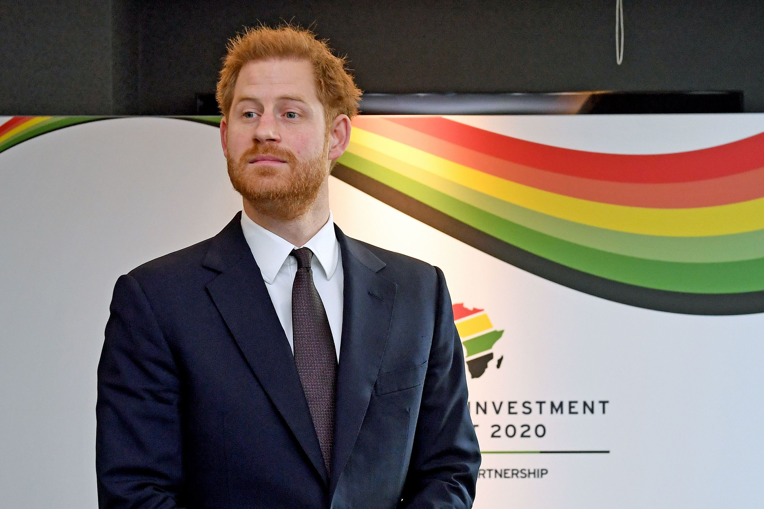 Britain's Prince Harry, Duke of Sussex reacts as he waits to meet a guest during the UK-Africa Investment Summit in London on January 20, 2020.