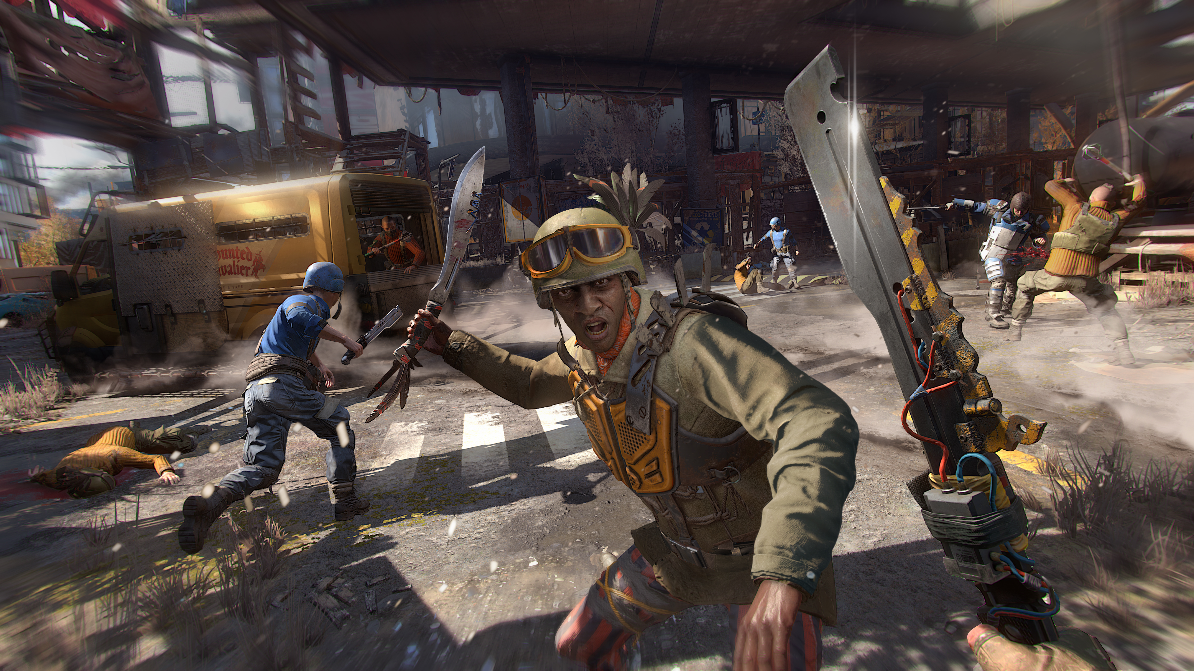 first-person machete combat with a soldier in Dying Light 2
