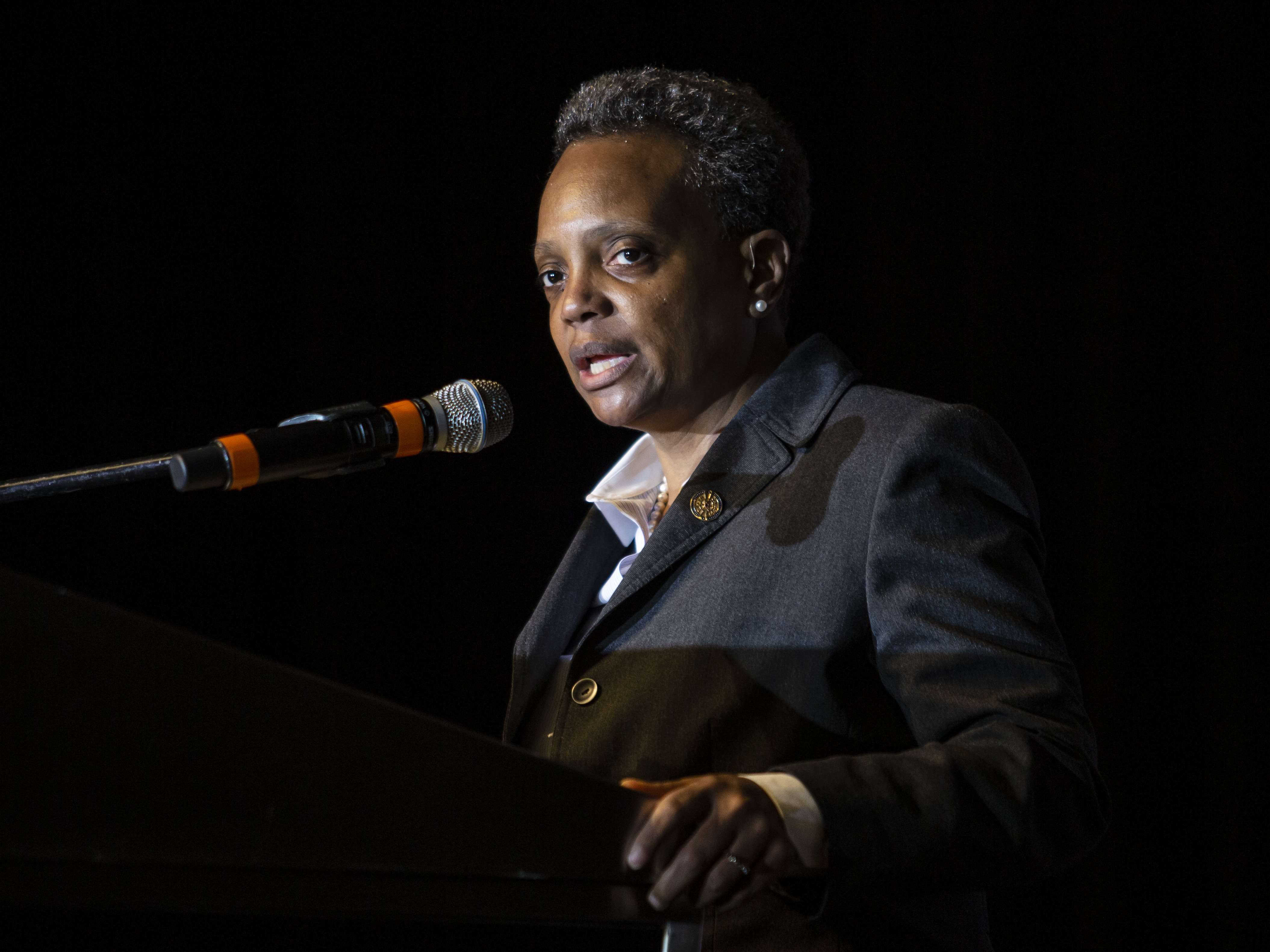 Mayor Lori Lightfoot speaks Monday during the Rainbow PUSH Coalition's 30th annual Dr. Martin Luther King Jr. Scholarship Breakfast at the Hyatt Regency Chicago.