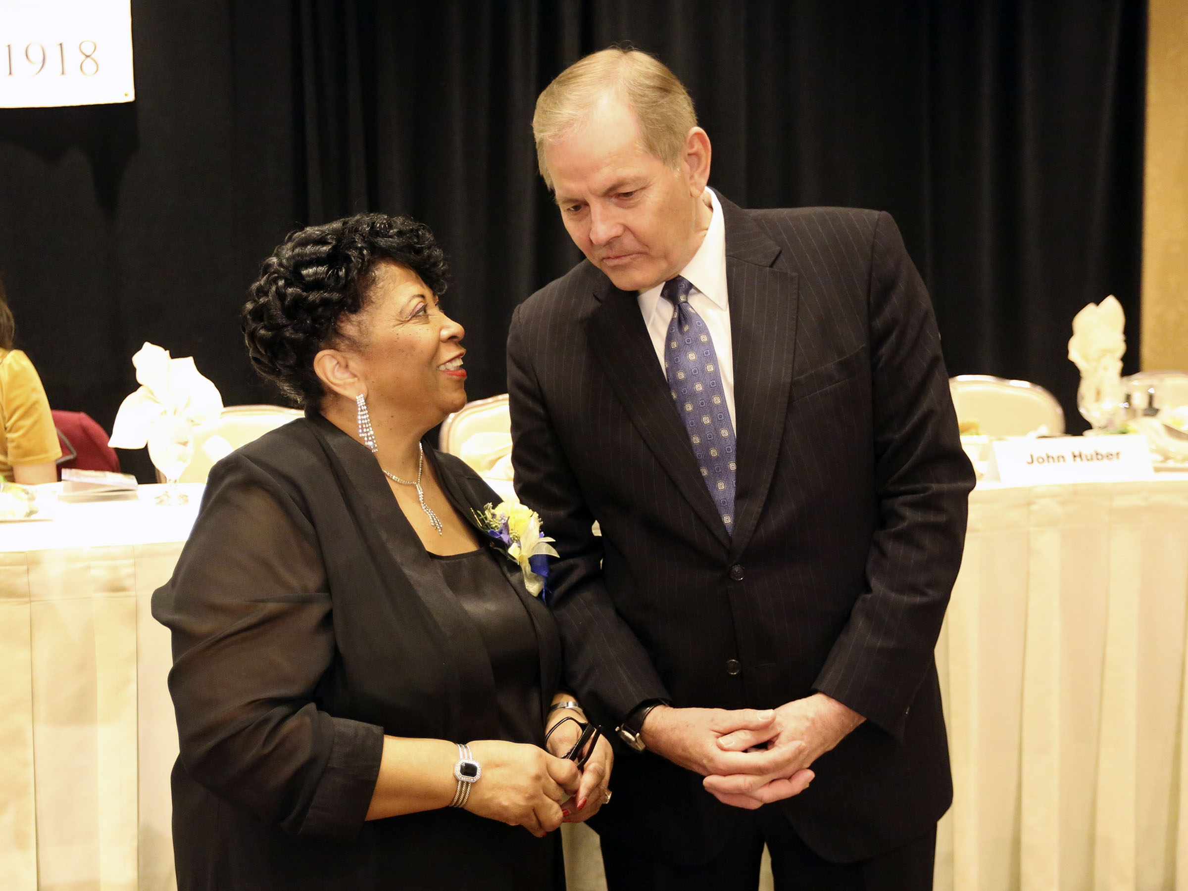 Jeanetta Williams, NAACP Salt Lake Branch president, and Elder Gary E. Stevenson, of the Quorum of the Twelve Apostles of The Church of Jesus Christ of Latter-day Saints, chat during the 36th annual Dr. Martin Luther King Jr. Memorial Luncheon, hosted by the NAACP Salt Lake Branch, at the Little America Hotel in Salt Lake City on Monday, Jan. 20, 2020.