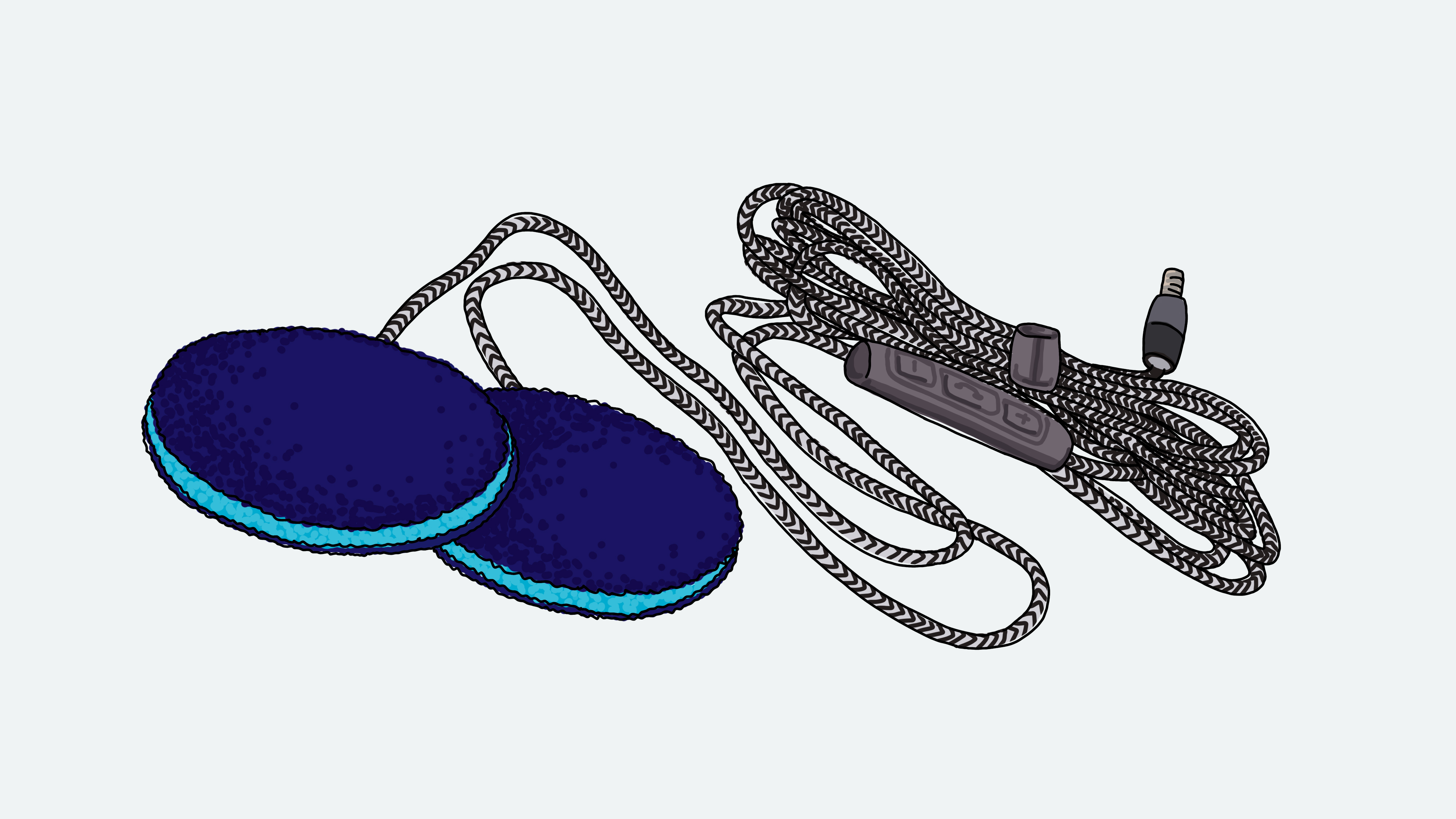 A drawing of a pair of Sleep Ultra Thin Pillow Headphones, with bundled cord and on-cord microphone.