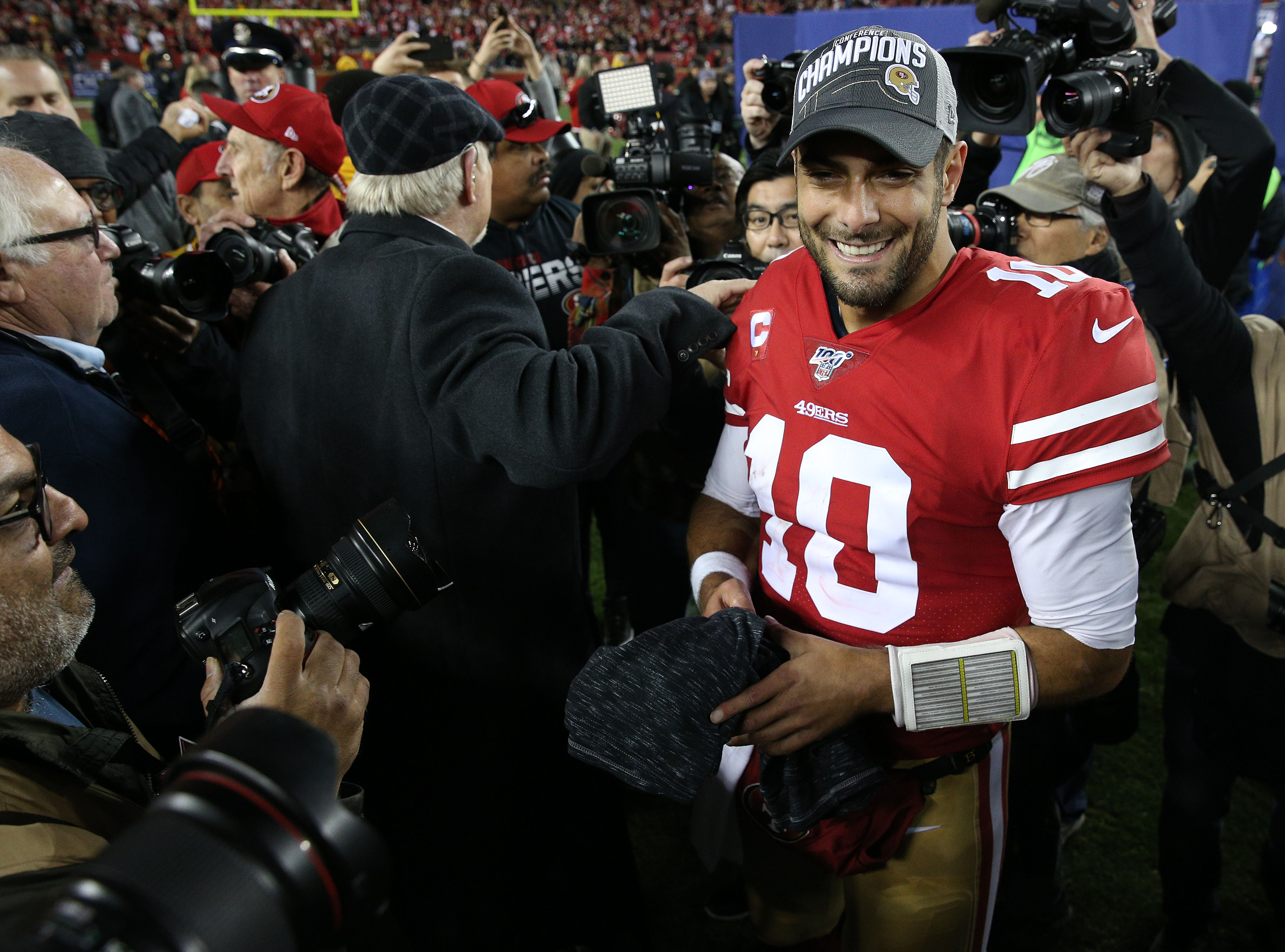 Jan 19, 2020; Santa Clara, California, USA; San Francisco 49ers quarterback Jimmy Garoppolo (10) reacts following the 37-20 victory against the Green Bay Packers in the NFC Championship Game at Levi's Stadium.