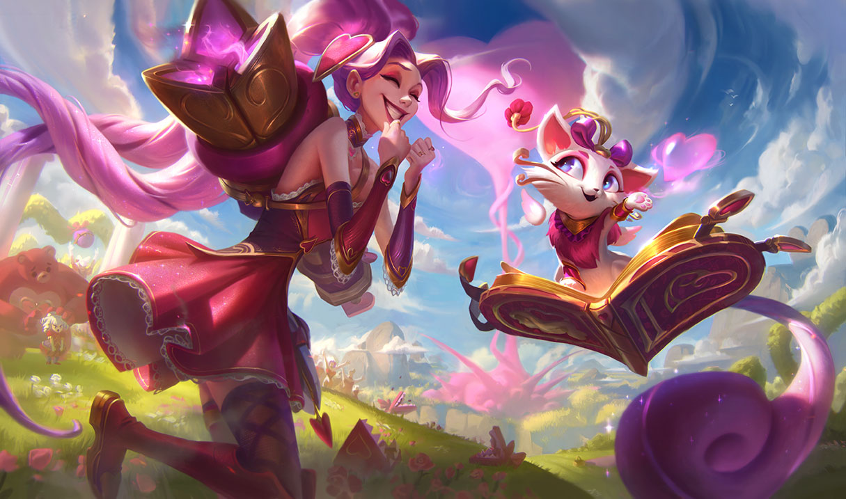 Heartseeker Jinx and Yuumi excitedly hang out together, decked out in pink and gold Valentine's-themed outfits