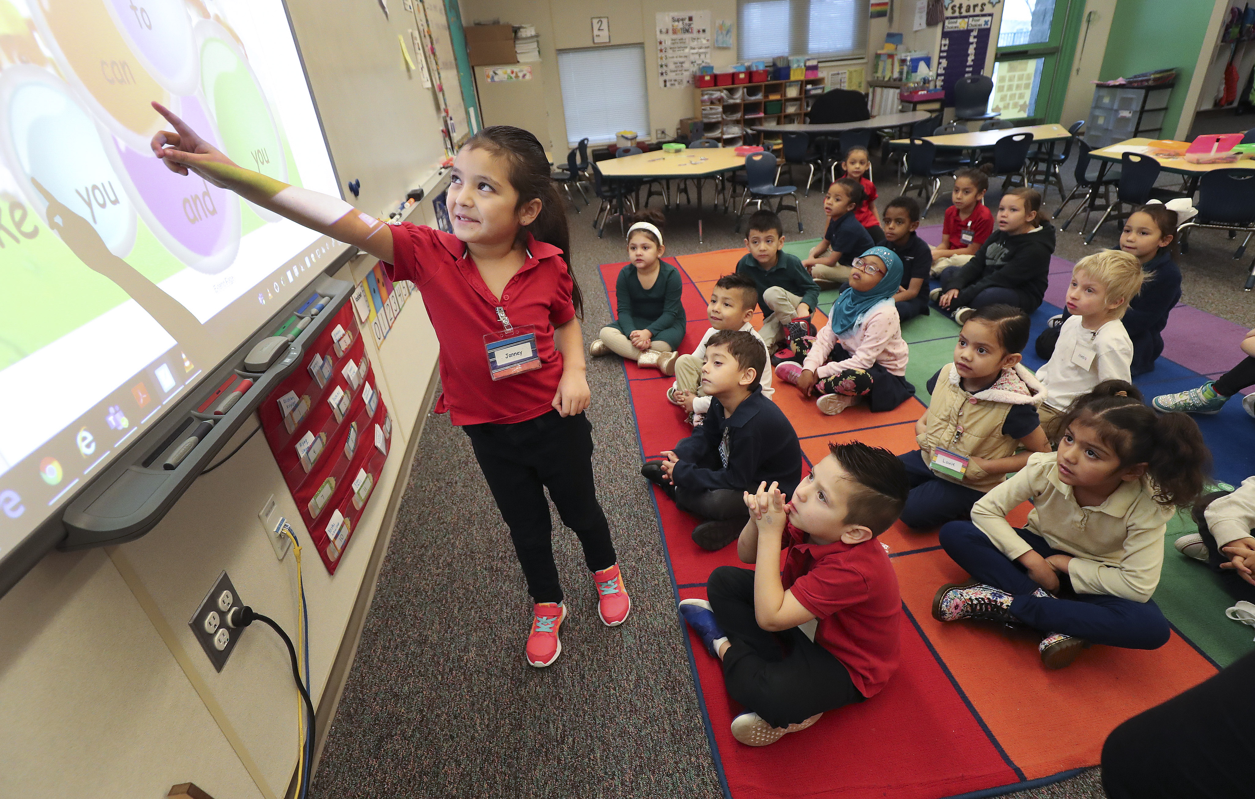 North Star Elementary School kindergarten student Janney answers a question in class in Salt Lake City on Wednesday, Dec. 4, 2019. The State School Board is asking lawmakers for money to enhance optional full-day kindergarten programs.