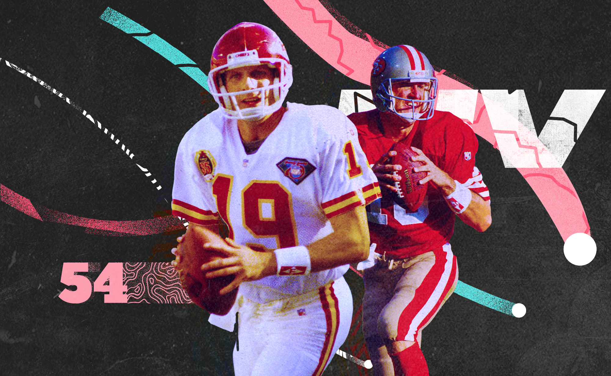"""Side-by-side photos of 49ers/Chiefs QBs Joe Montana and Elvis Grbac, with pink, white, and teal lines and the number """"54"""" in the background"""