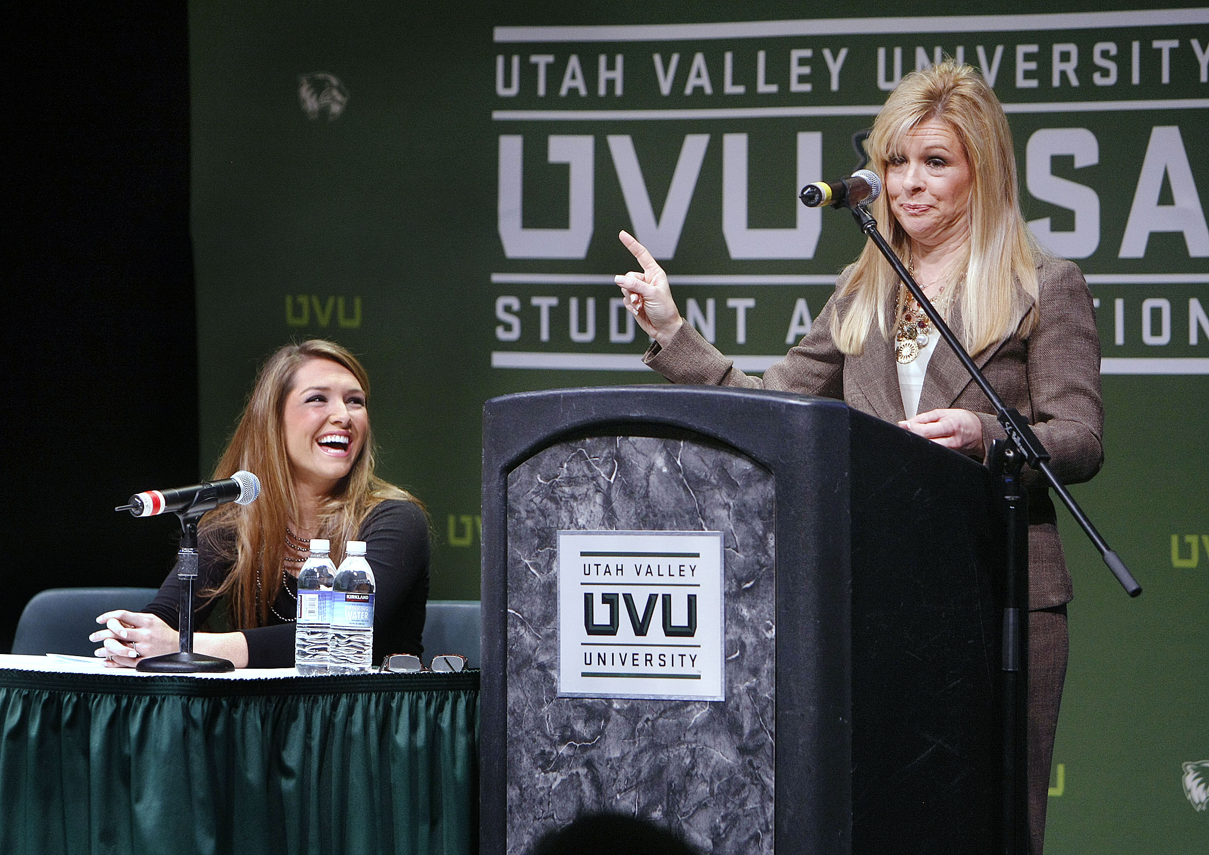 "Leigh Anne Touhy, right, and her daughter Collins Touhy speak at Utah Valley University. They are the mother and sister of NFL football star Michael Oher. The movie ""The Blind Side"" is the story about Oher and the Touhy family that adopted him. Tuesday, Feb. 2, 2010 Photo by Stuart Johnson"