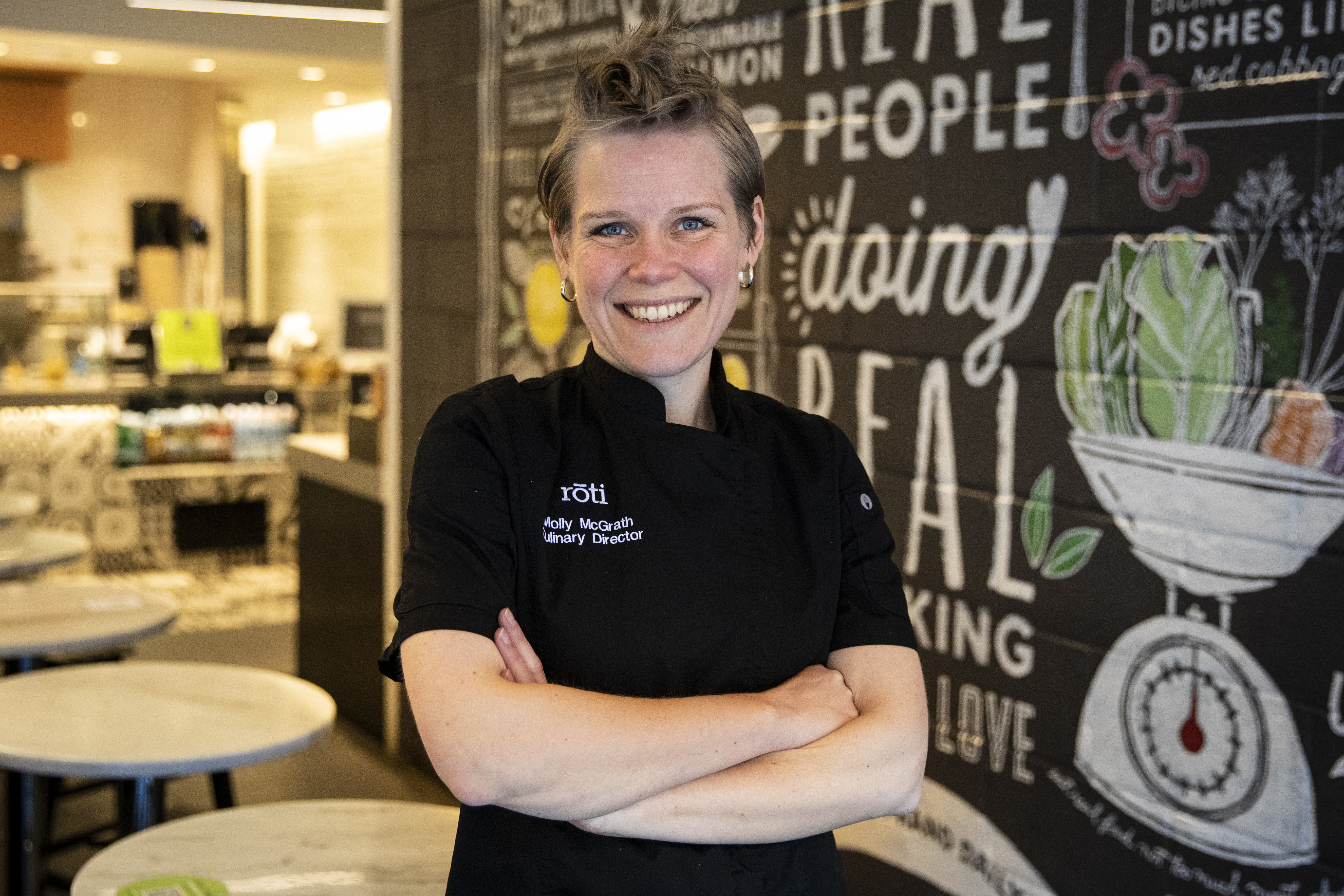 Molly McGrath, head chef and culinary director at Roti Modern Mediterranean, poses for a portrait at the restaurant at 1012 W. Randolph St., Thursday morning, Jan. 16, 2020.