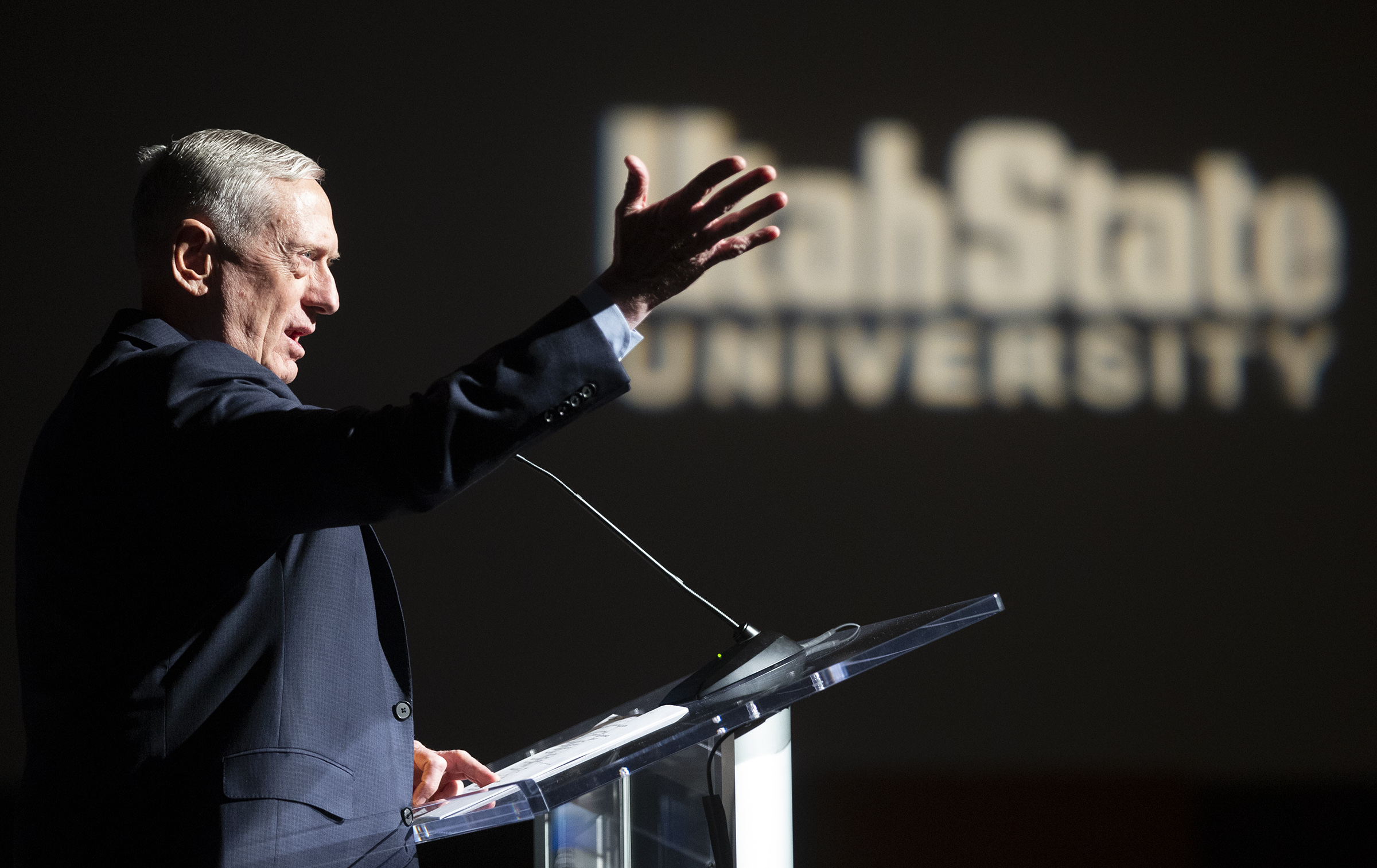 """FormerDefense Secretary and retired four-star Marine Corps Gen. James Mattis speaks on """"U.S. Leadership on the World Stage: Getting It Right, andHealing Rifts at Home"""" at Utah State University in Logan on Tuesday, Jan. 21, 2020."""