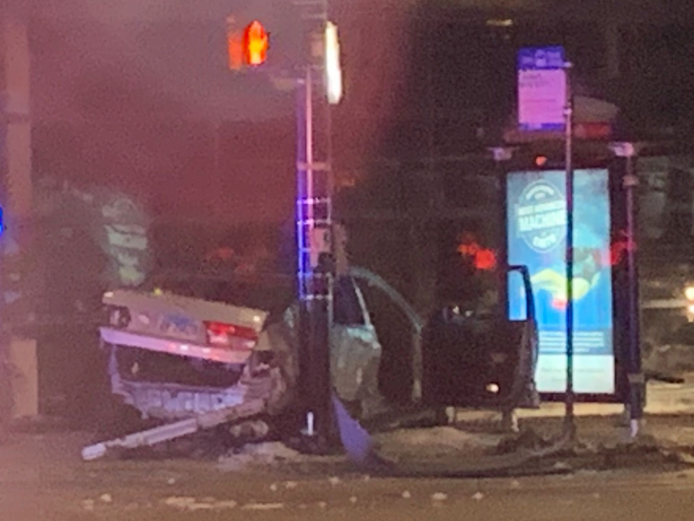 A vehicle crashed in Ravenswood after a police chase stemming from a shooting Jan. 21, 2020.