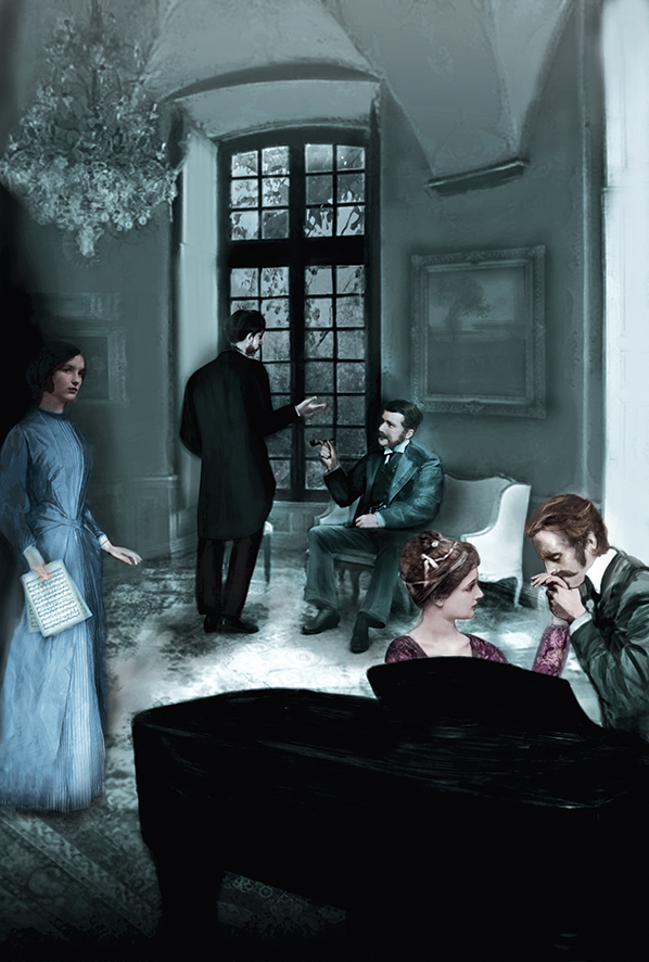 Four figures in Victorian garb converse at a house party, while a woman looks on from the corner, clutching a paper.