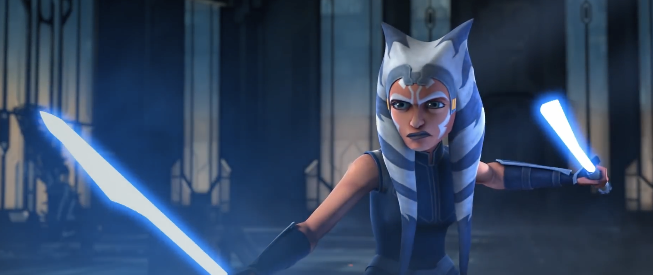ahsoka with two blue lightsabers, ready to THROW DOWN BITCH