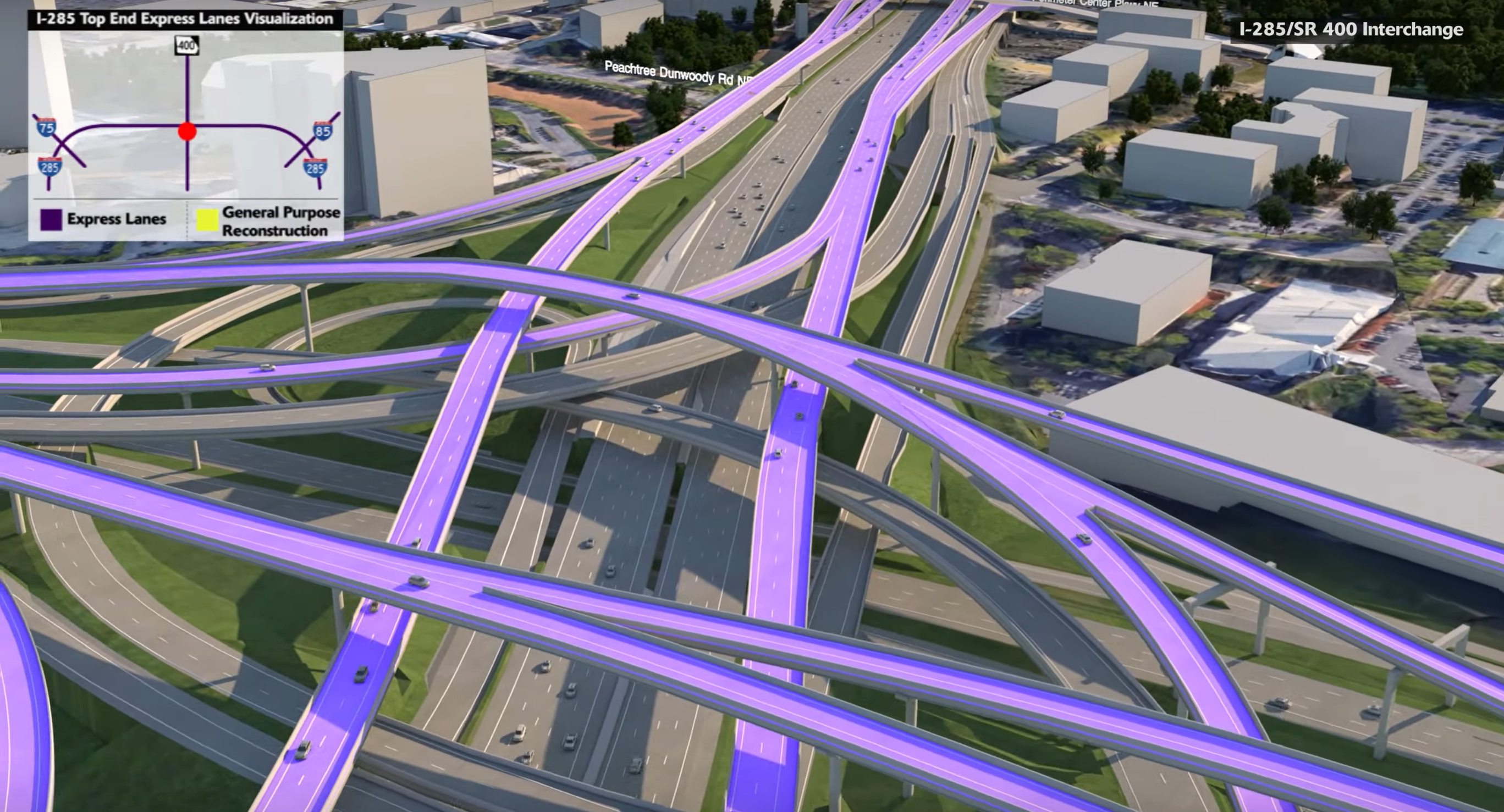 A rendering shows in purple the new express lanes weaving through the existing infrastructure.