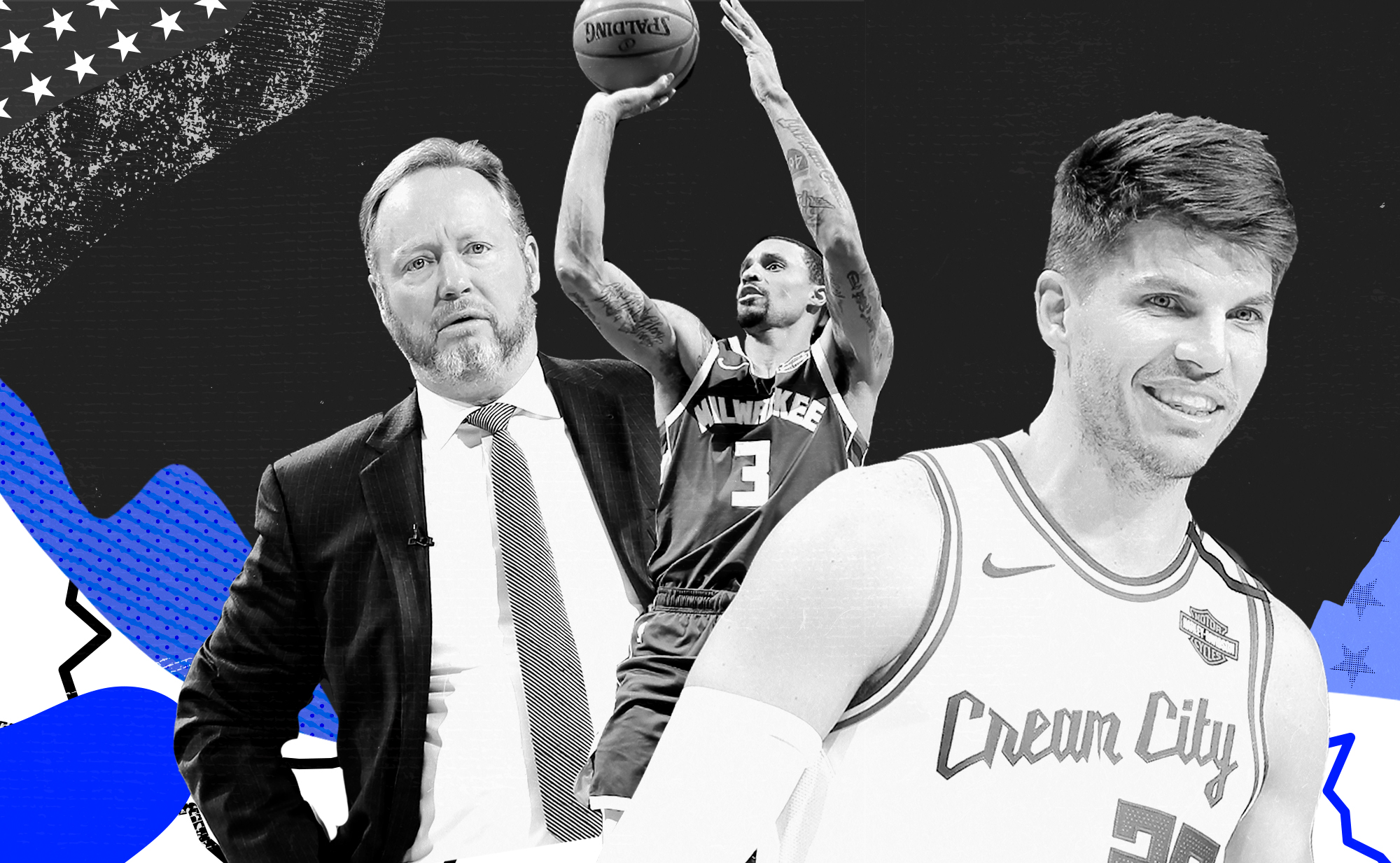 A collage of George Hill (center), Kyle Korver (right), and head coach Mike Budenholzer.