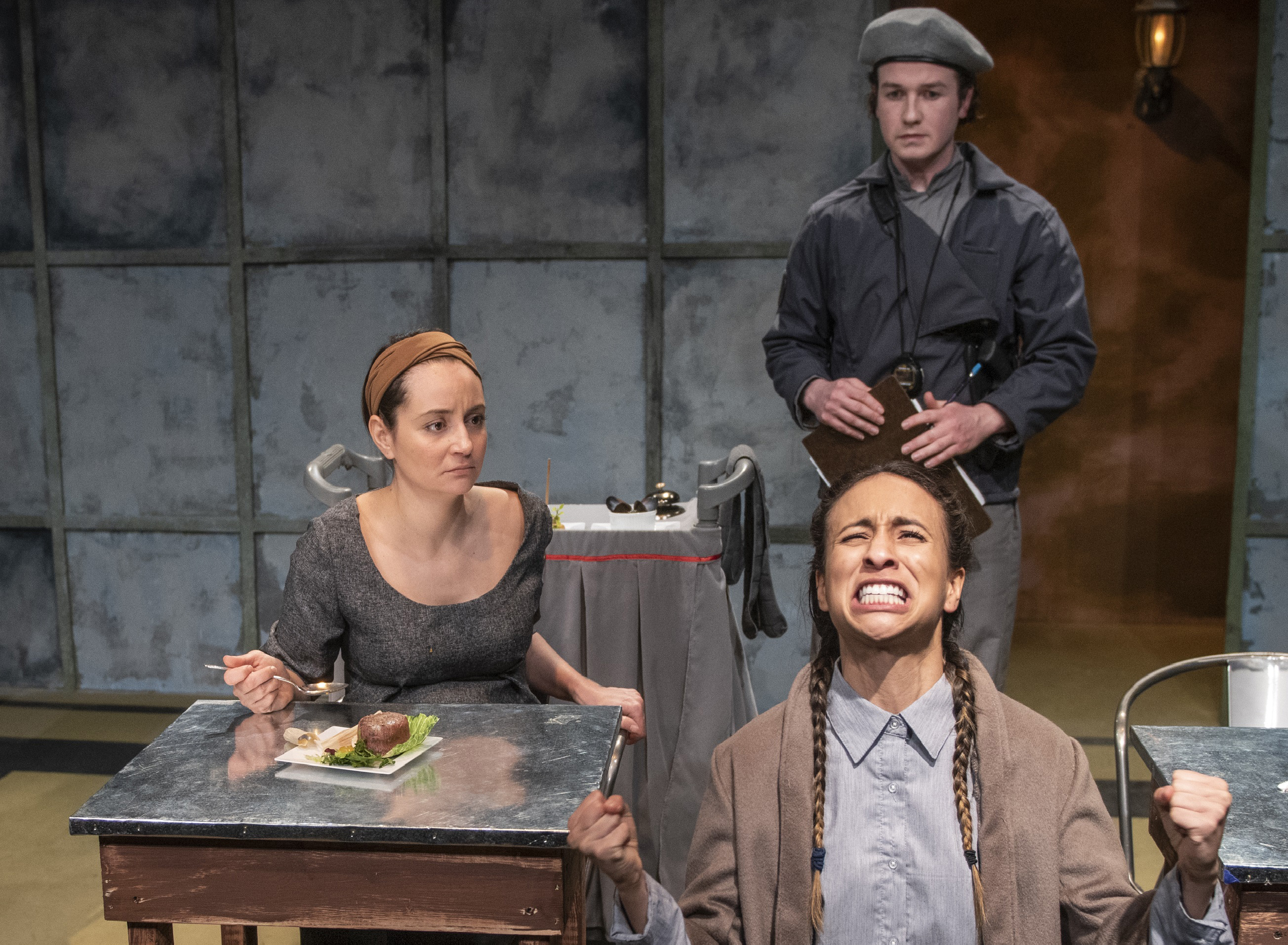 """Paula Ramirez (from left), Daniella Pereira and Collin Quinn Rice in a scene from Rivendell Theatre's world premiere production of """"The Tasters."""""""