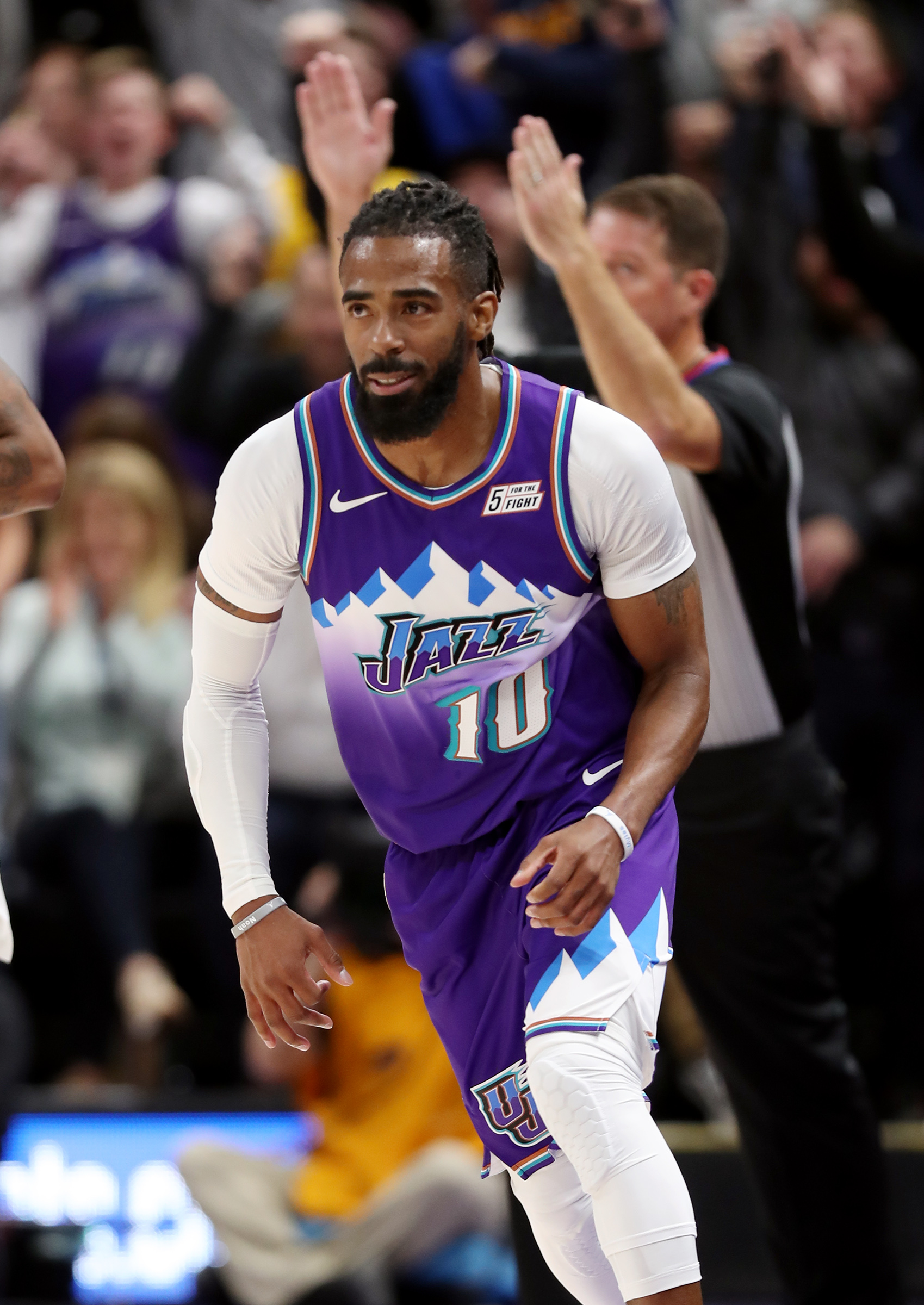 Utah Jazz guard Mike Conley (10) turns upcourt after dropping in a 3-point shot as the Utah Jazz and the LA Clippers play an NBA basketball game at Vivint Arena in Salt Lake City on Wednesday, Oct. 30, 2019. Jazz won 110-96.